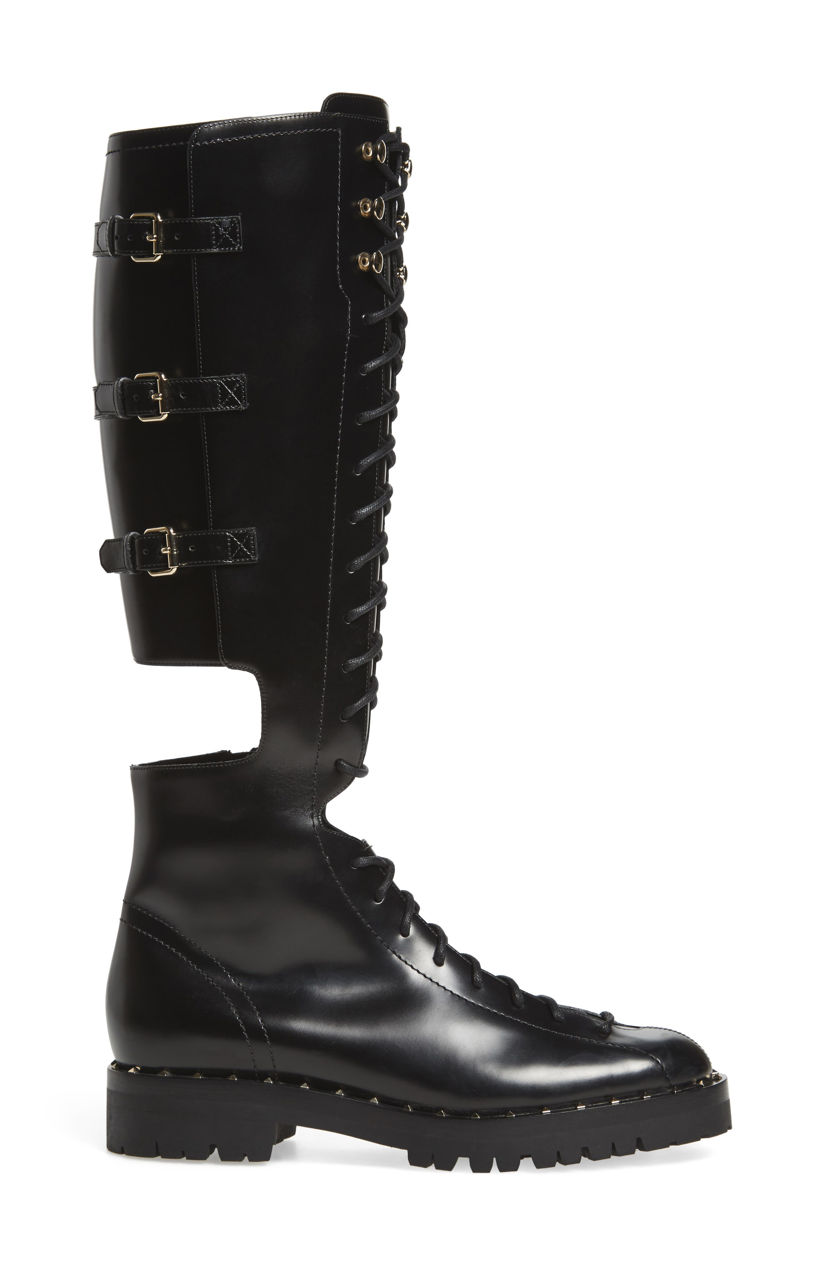 Alternate Image 3  - VALENTINO GARAVANI Soul Rockstud Knee High Cutout Boot (Women)