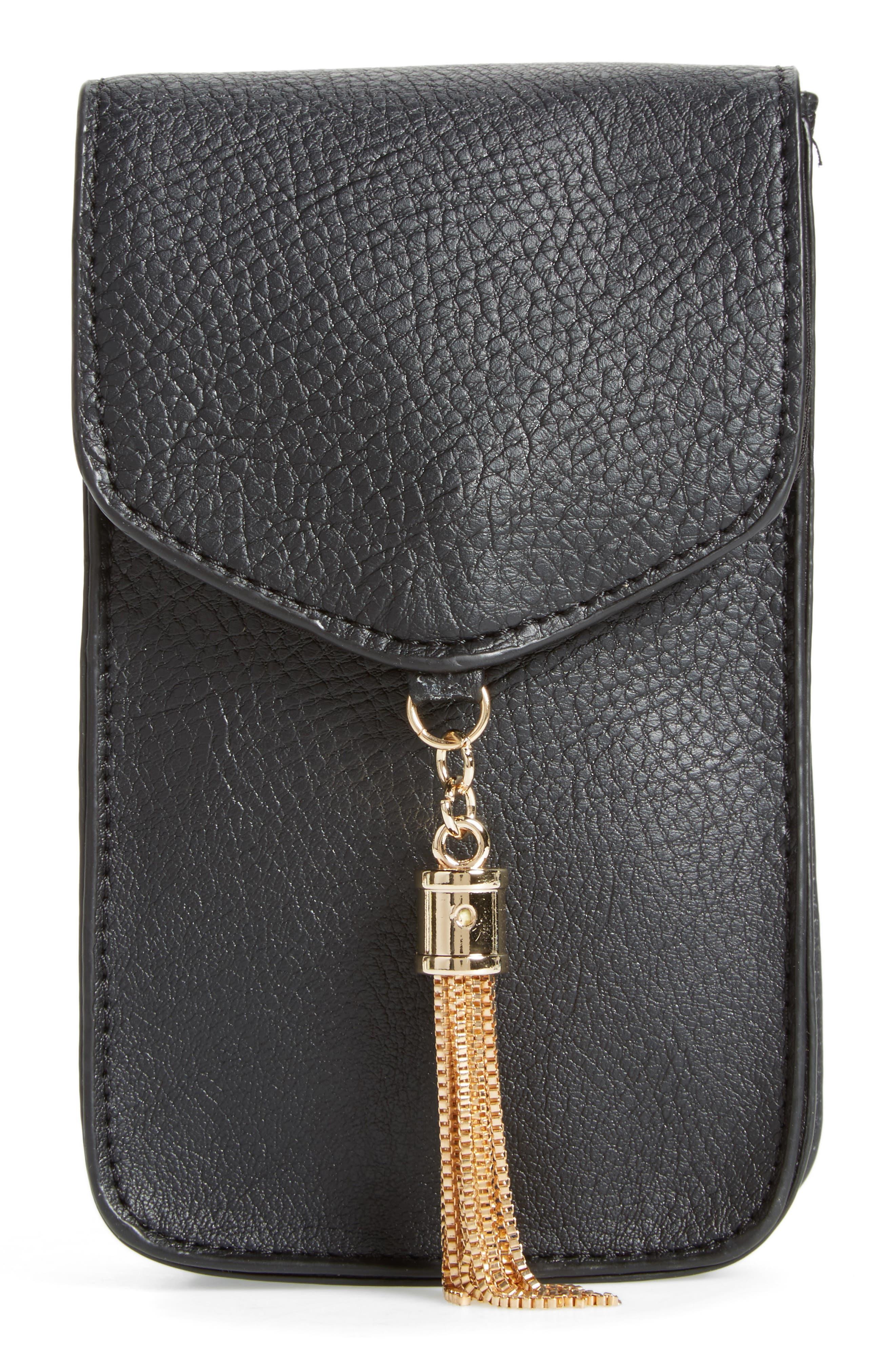 Amici Accessories Tassel Faux Leather Phone Crossbody Bag