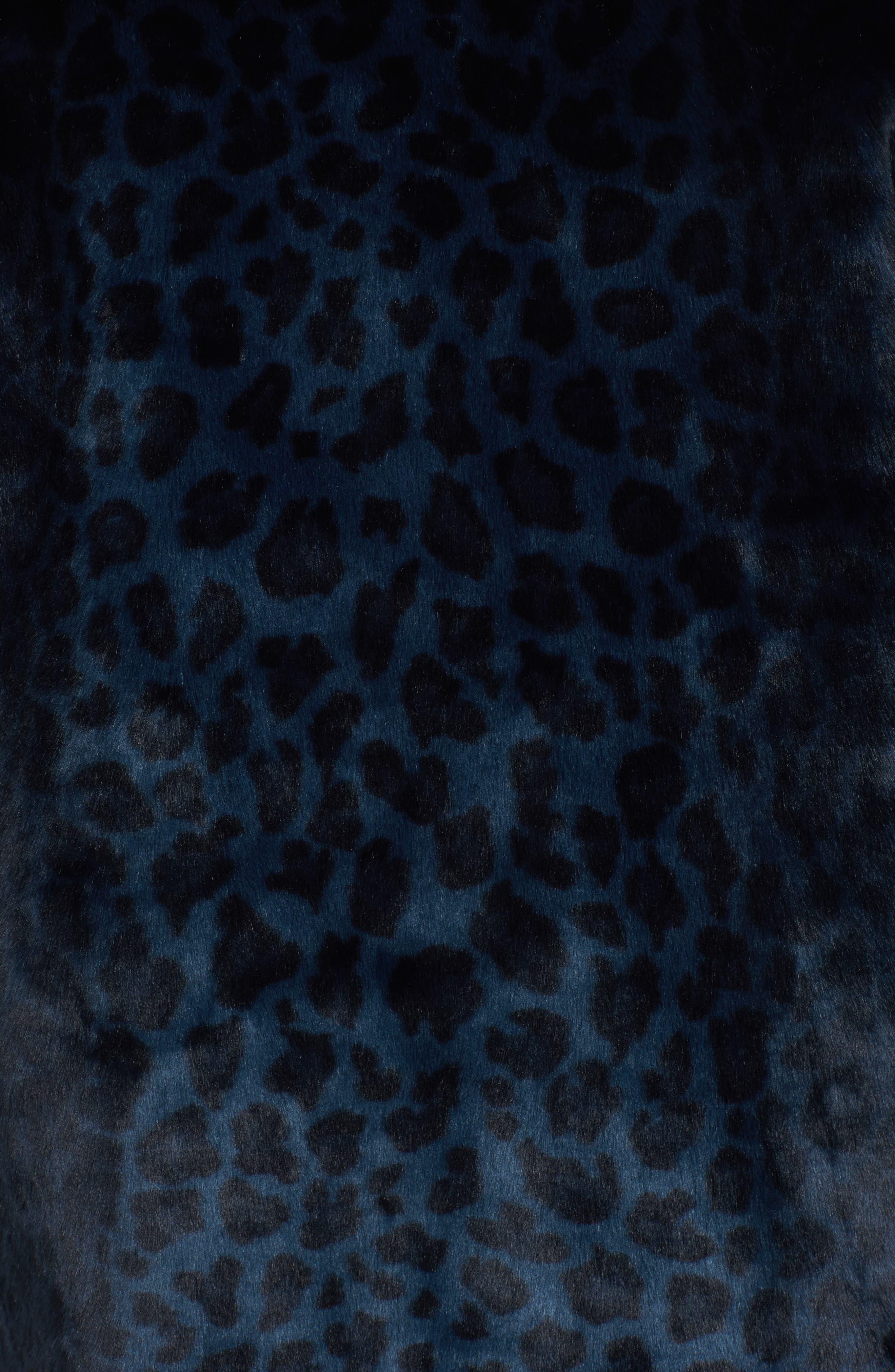 Reversible Cheetah Print Faux Fur Jacket,                             Alternate thumbnail 5, color,                             Navy