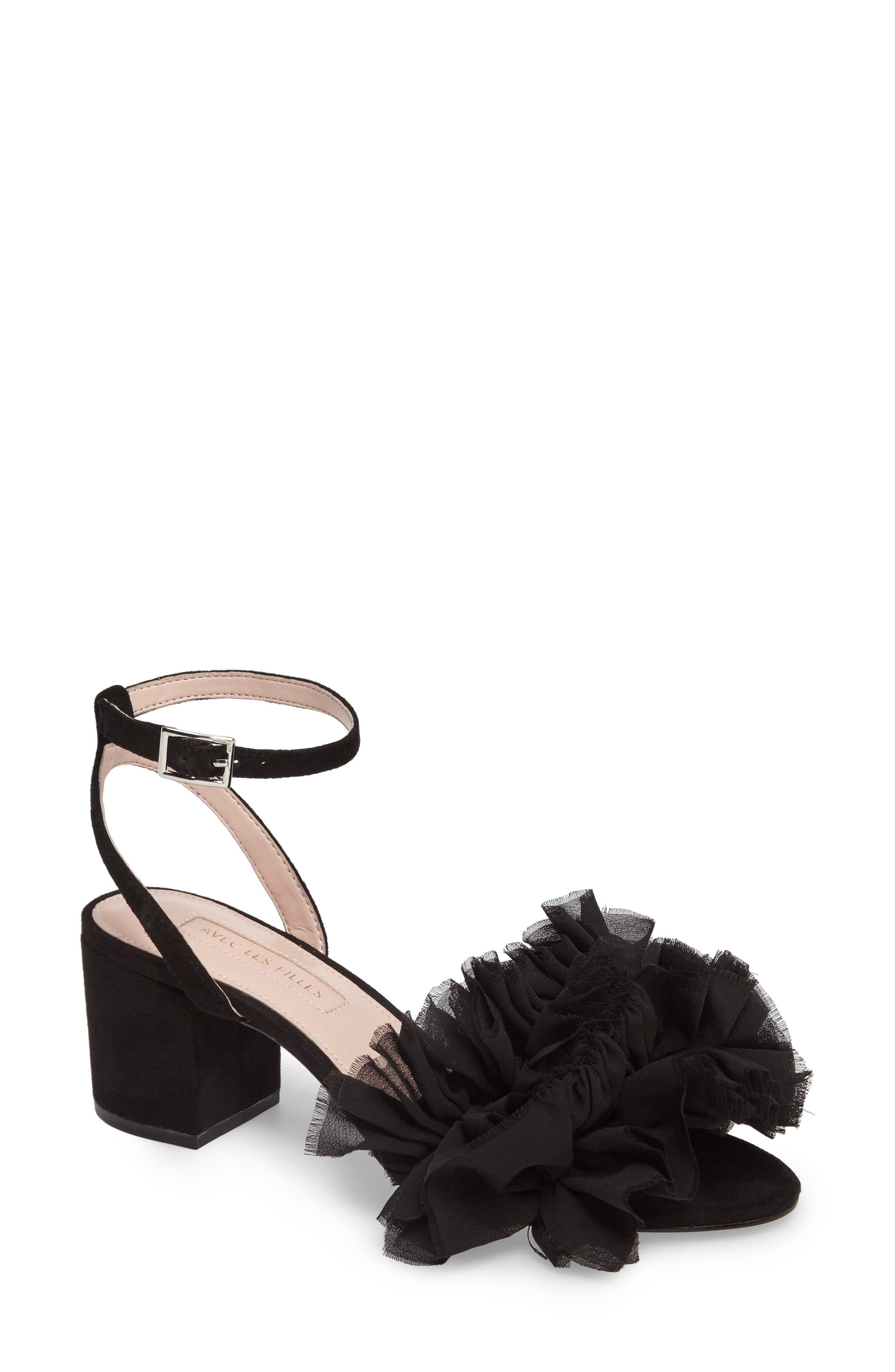 Avec Les Files Myra Sandal,                             Main thumbnail 1, color,                             Black Fabric\Suede