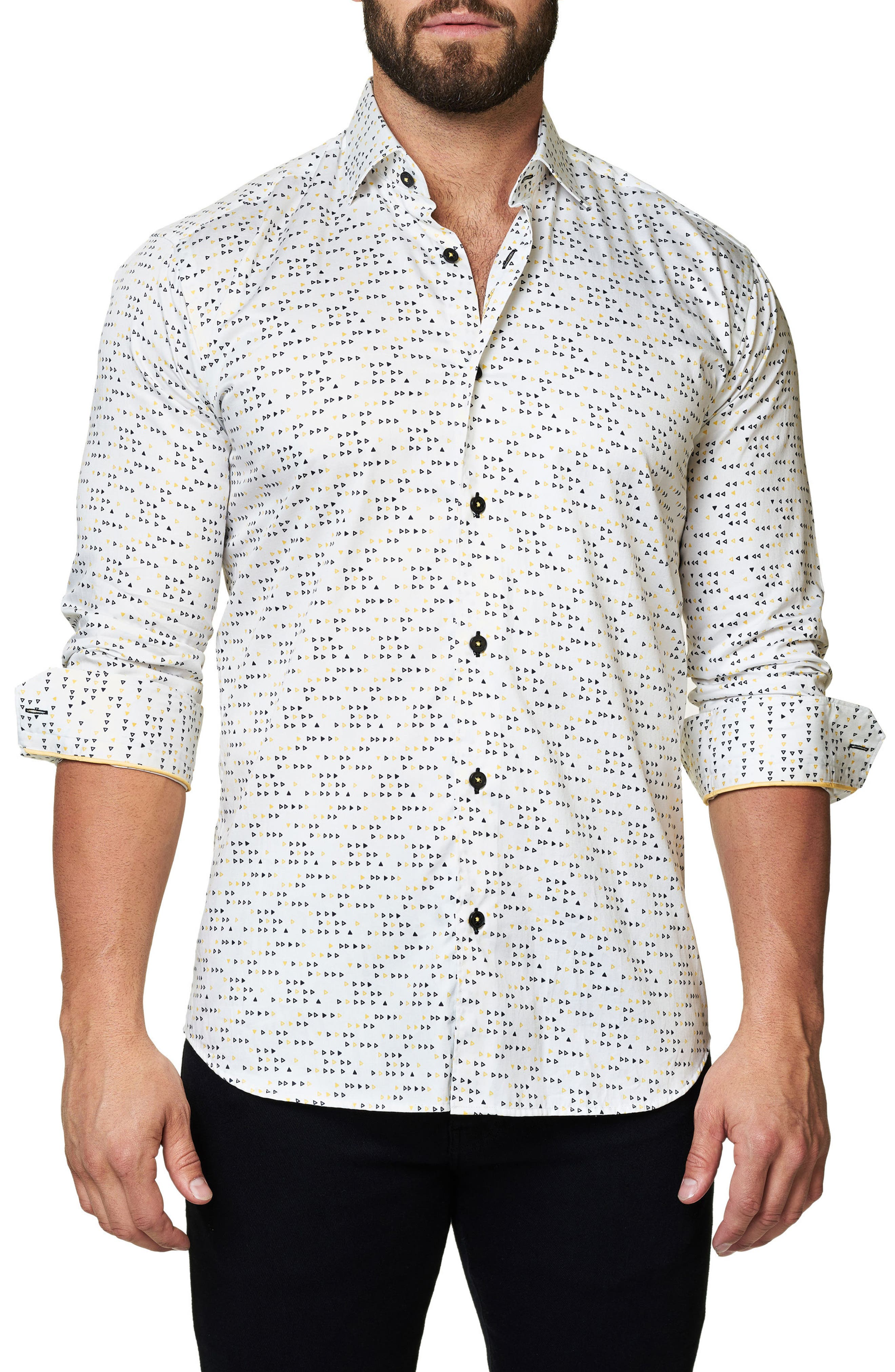 Trim Fit Triangle Print Sport Shirt,                         Main,                         color, White