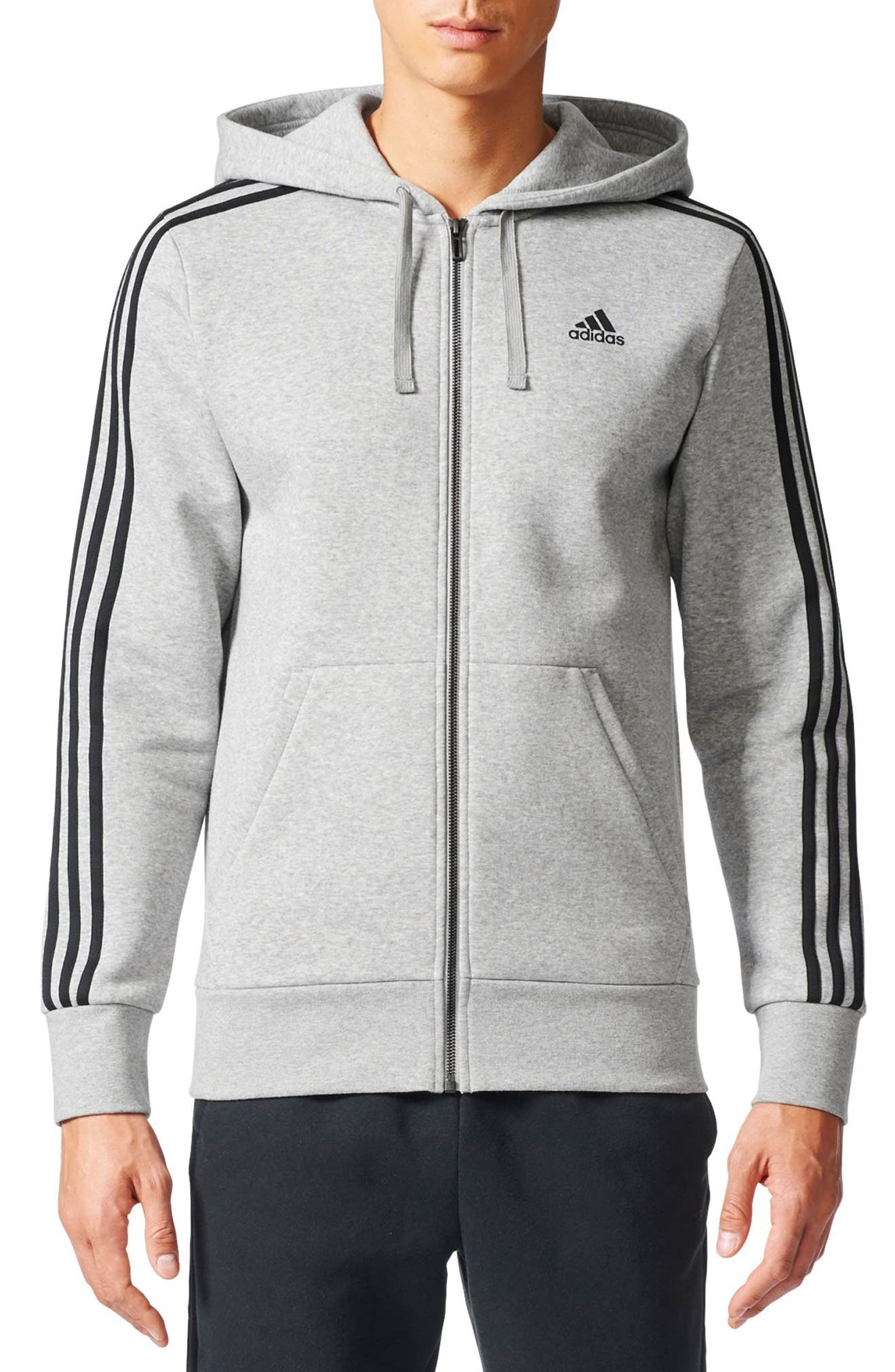 adidas Essentials 3S Brushed Fleece Zip Hoodie