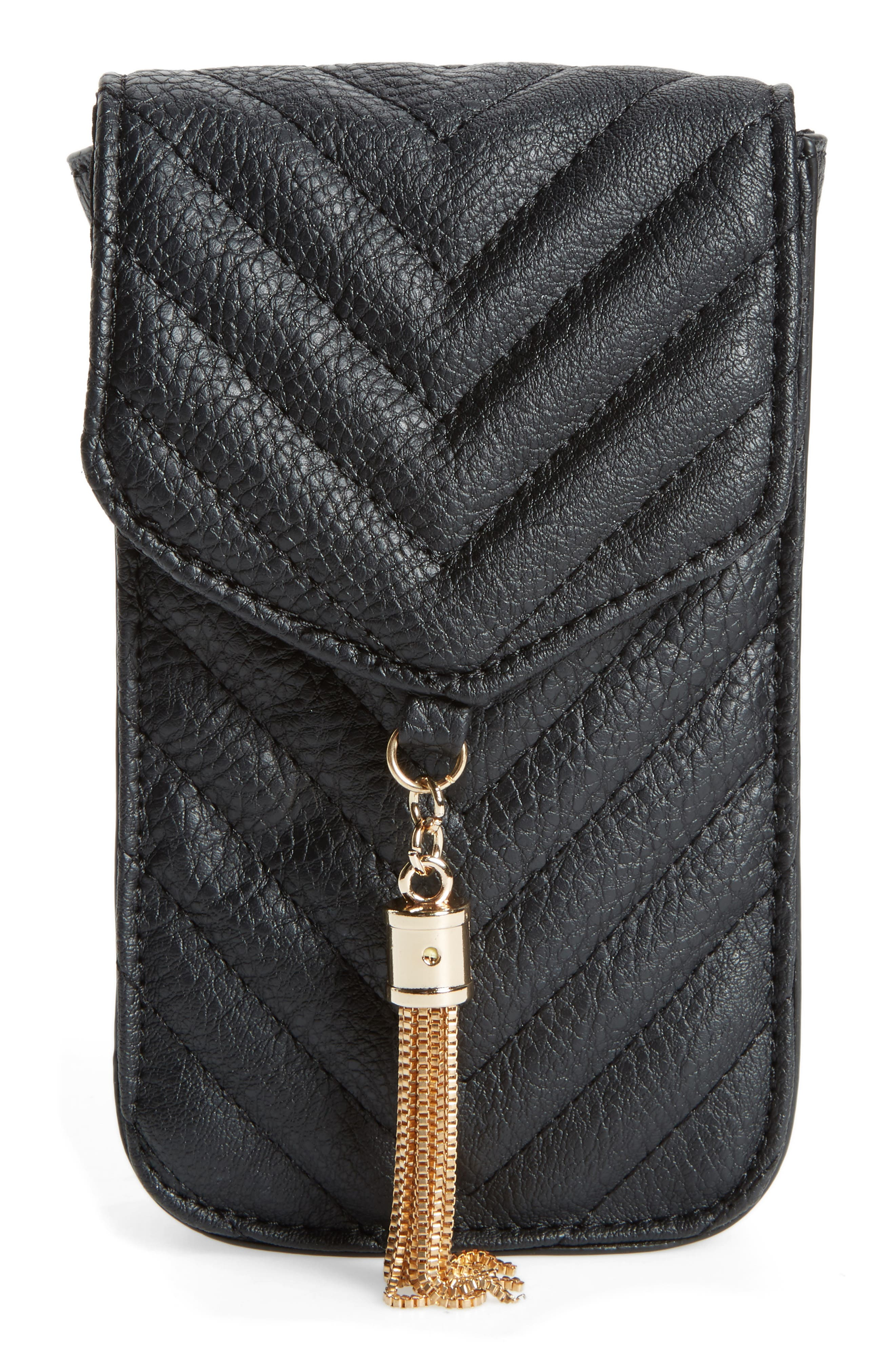 Amici Accessories Quilted Faux Leather Phone Crossbody Bag