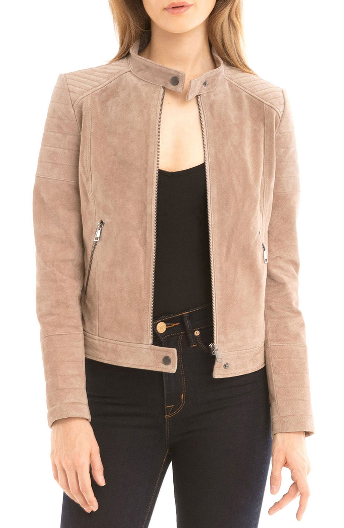 Alternate Image 1 Selected - Bagatelle Suede Moto Jacket