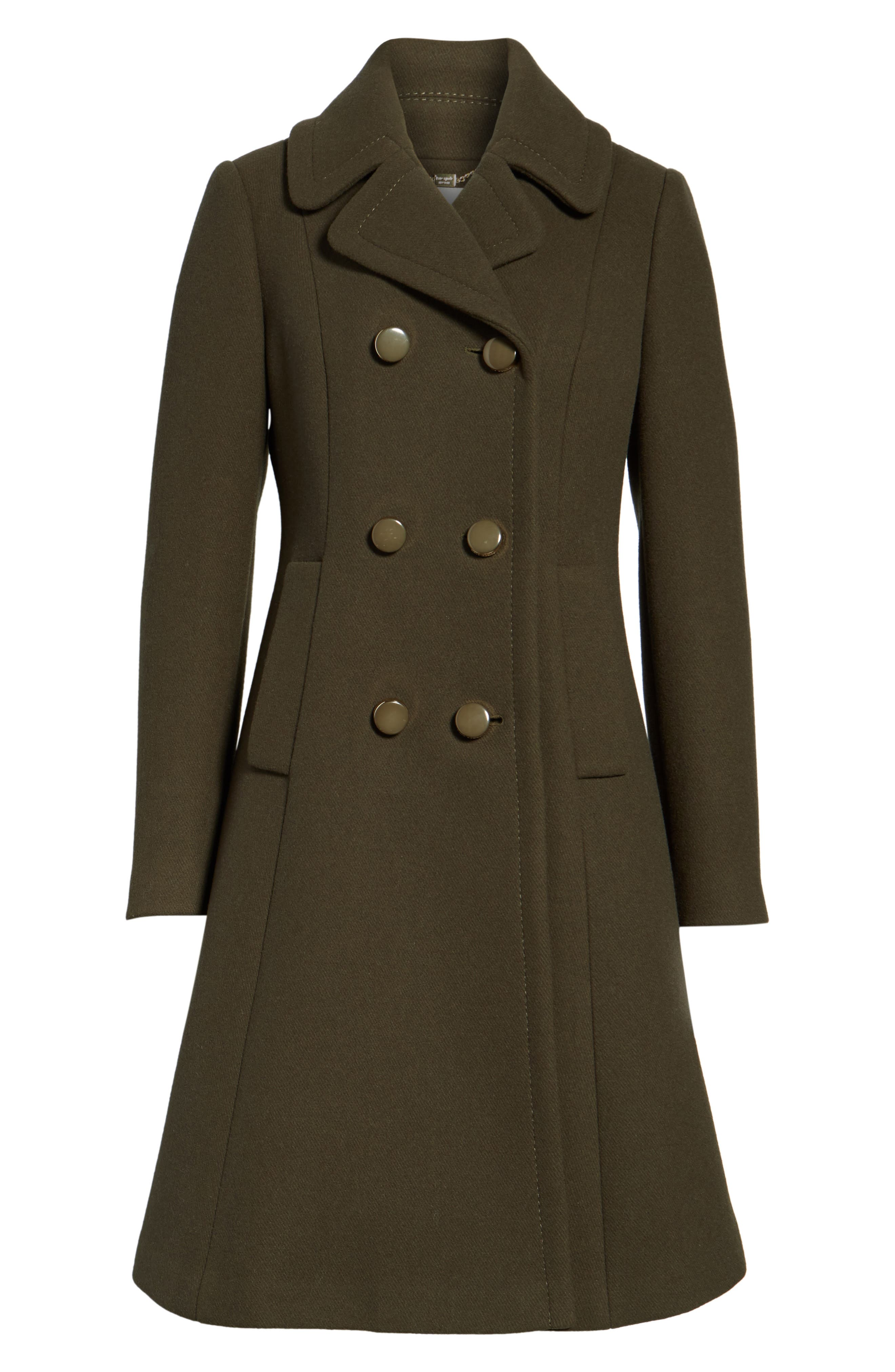 twill fit & flare coat,                             Alternate thumbnail 6, color,                             Olive Grove