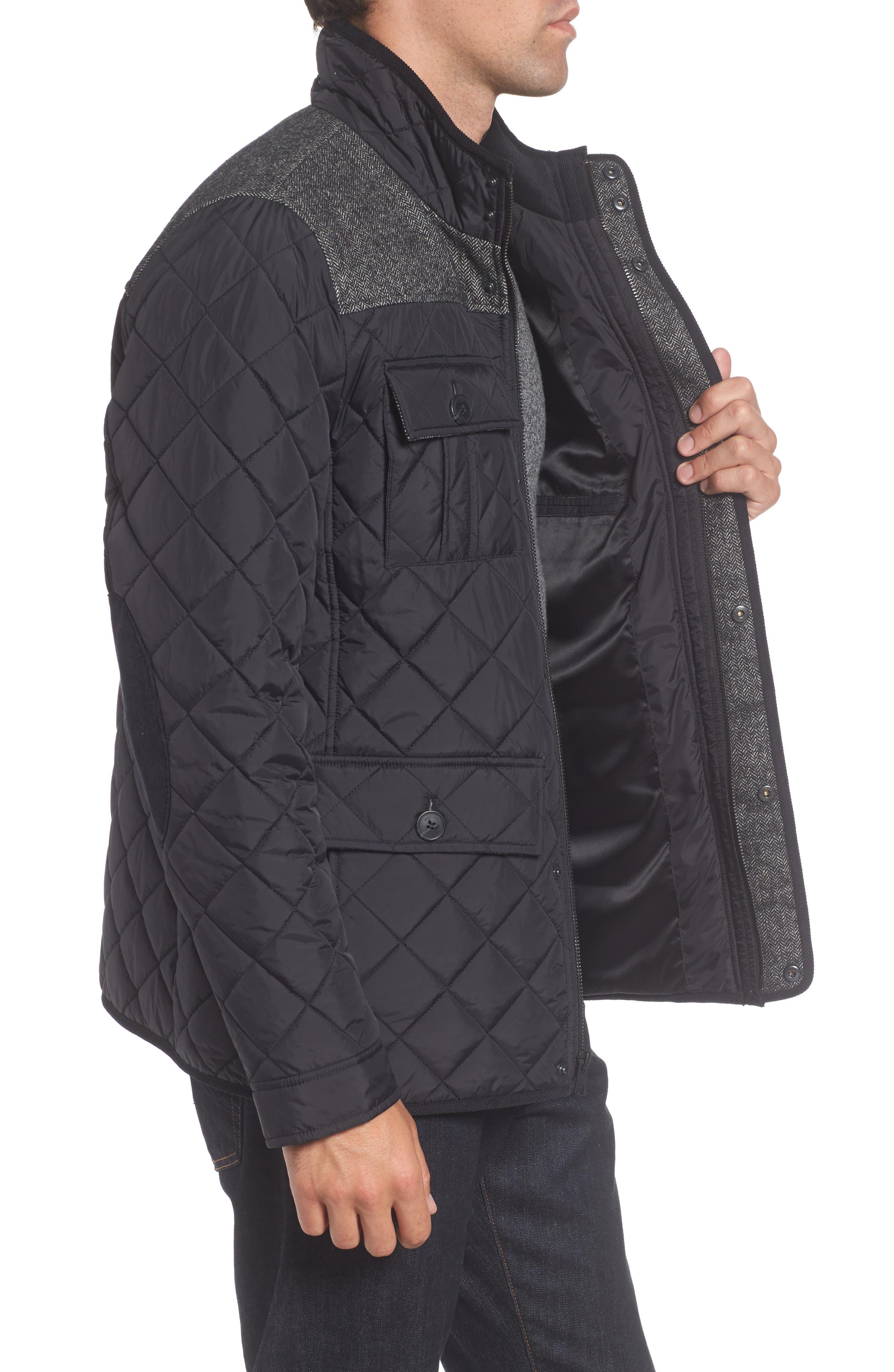 Diamond Quilted Full Zip Jacket,                             Alternate thumbnail 3, color,                             Black