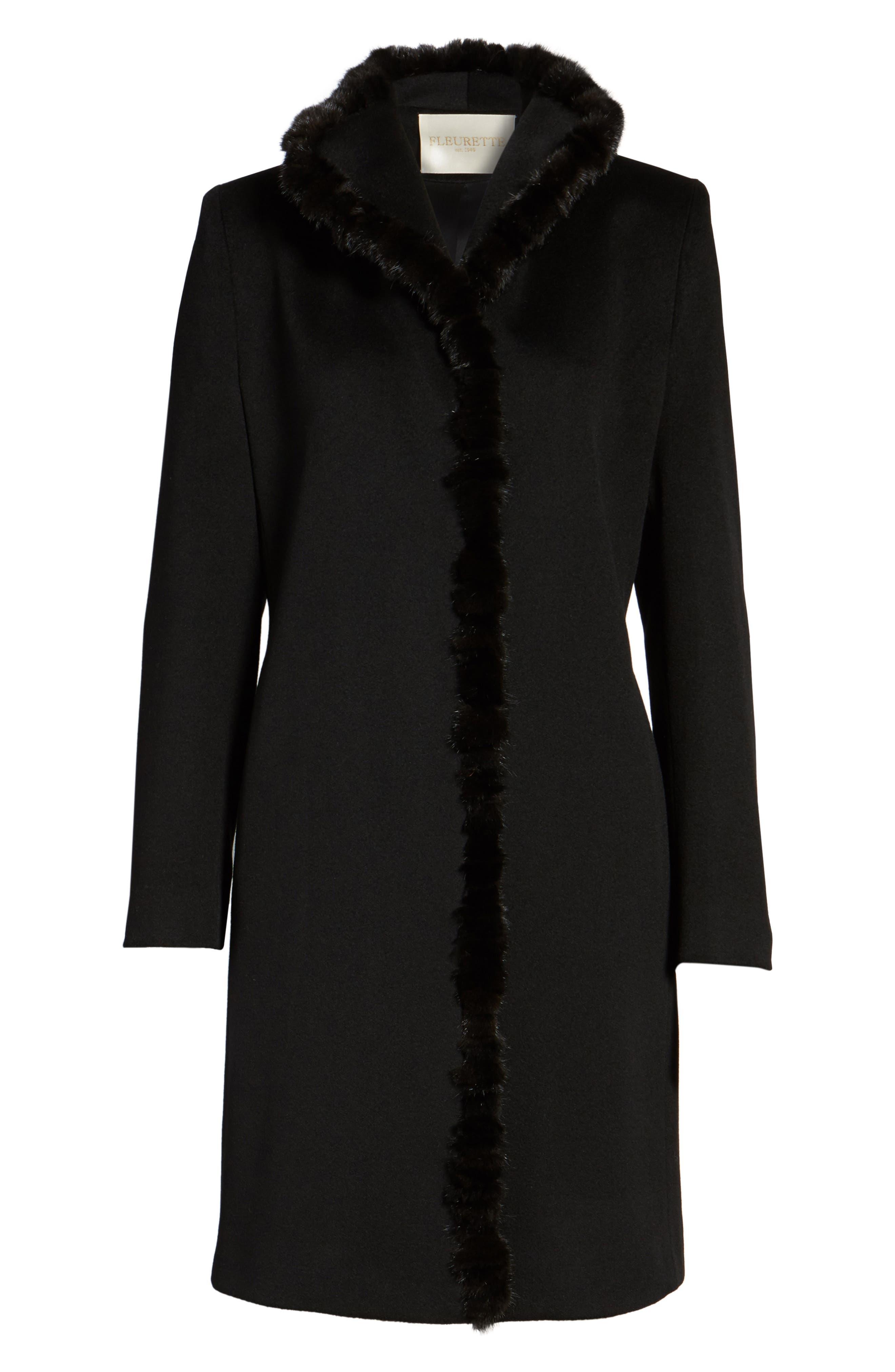Loro Piana Wool Wing Collar Coat with Genuine Mink Trim,                             Alternate thumbnail 6, color,                             Black