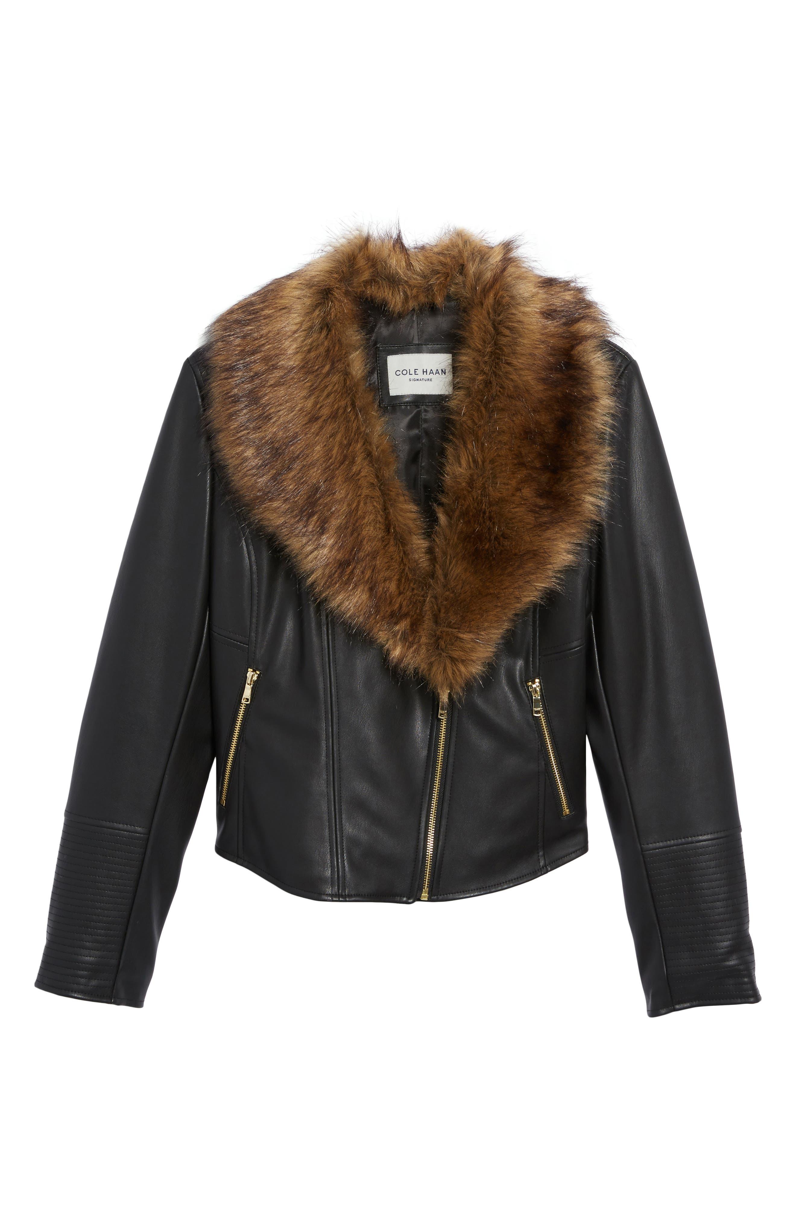 Alternate Image 6  - Cole Haan Signature Faux Leather Jacket with Detachable Faux Fur