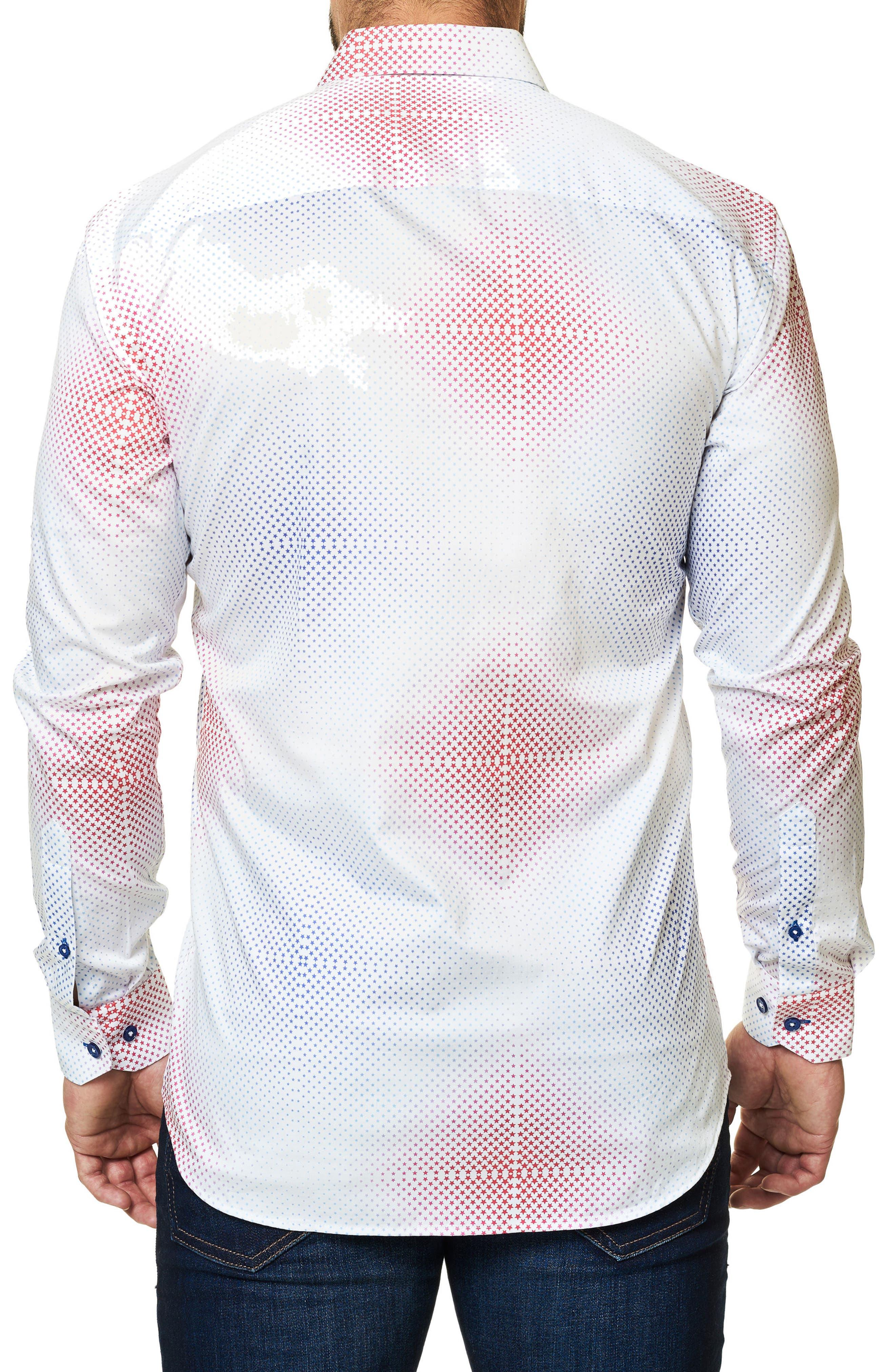 Trim Fit Ombré Star Sport Shirt,                             Alternate thumbnail 2, color,                             White