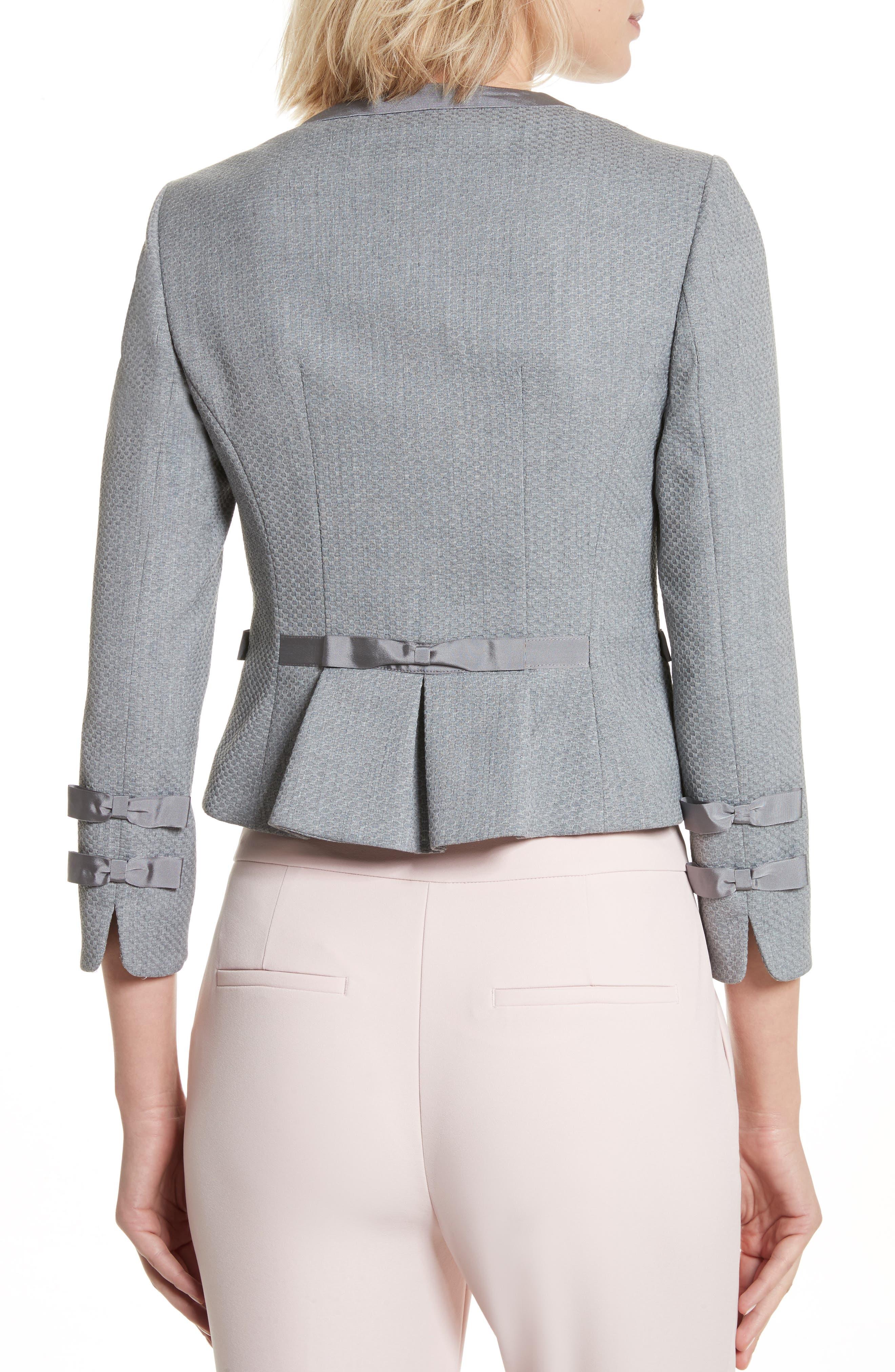 Nadae Bow Detail Crop Jacket,                             Alternate thumbnail 2, color,                             Mid Grey
