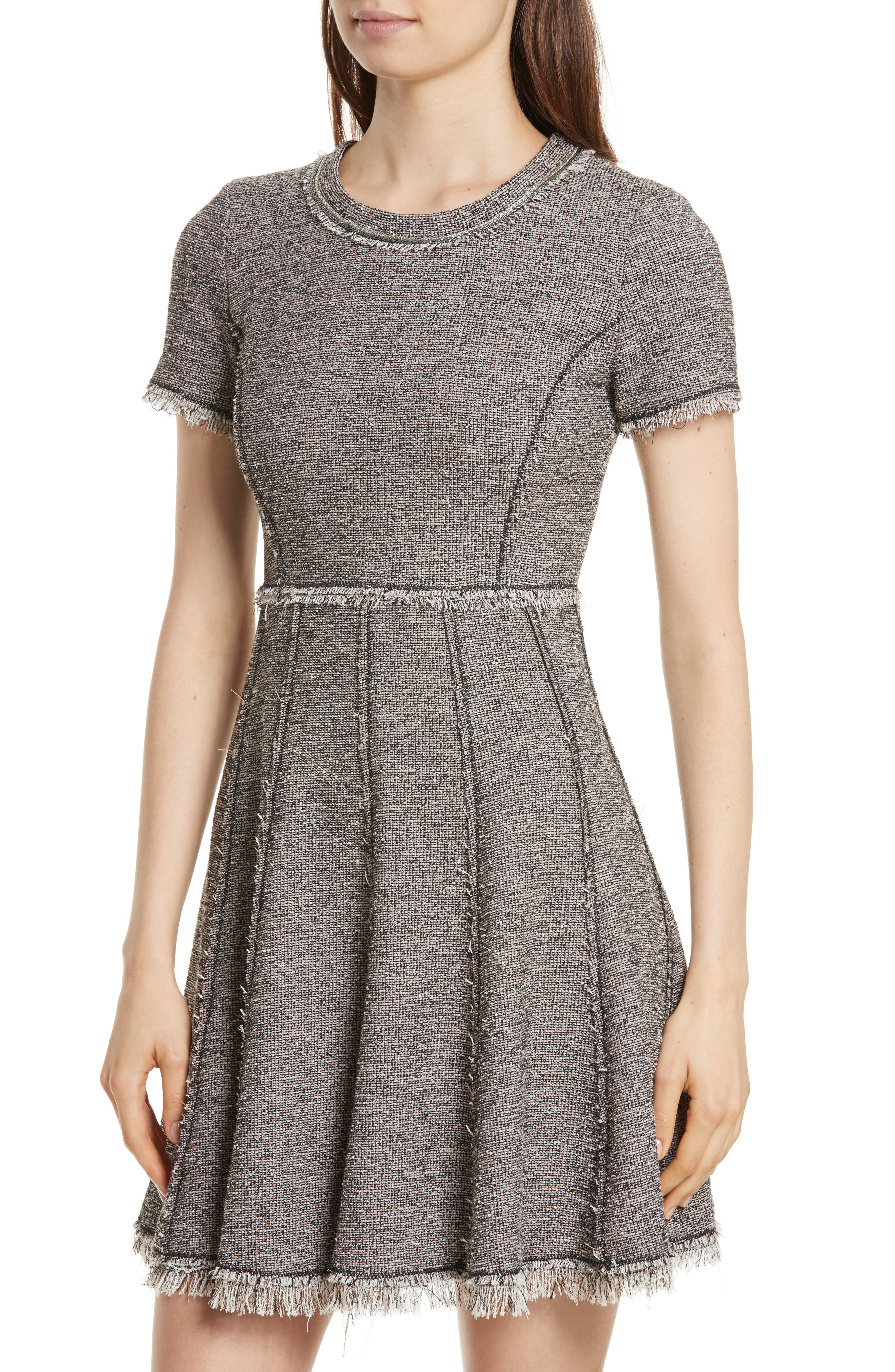Stretch Tweed Dress,                             Alternate thumbnail 4, color,                             Nude Combo