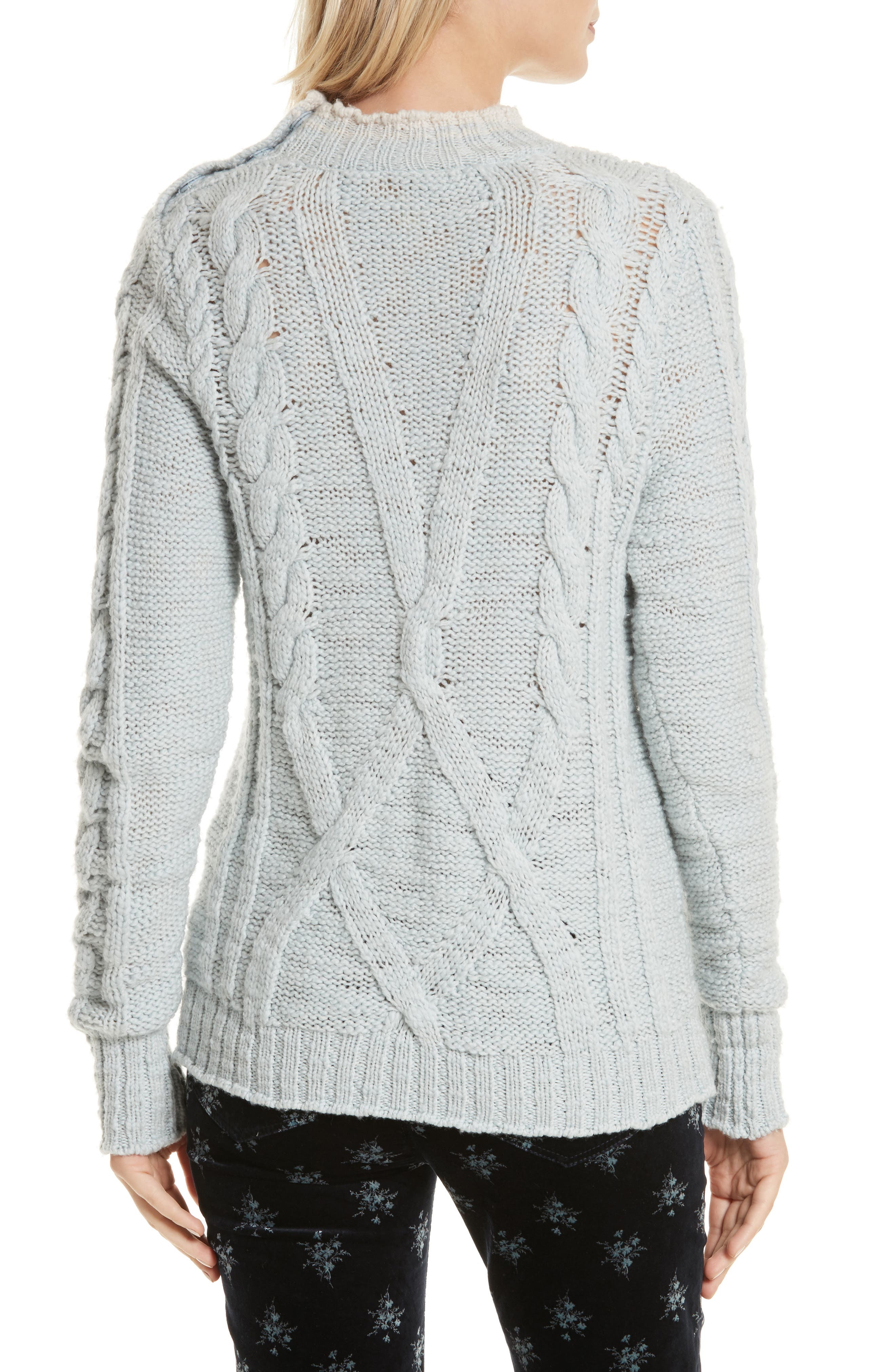 Mock Neck Wool Pullover,                             Alternate thumbnail 2, color,                             Glace