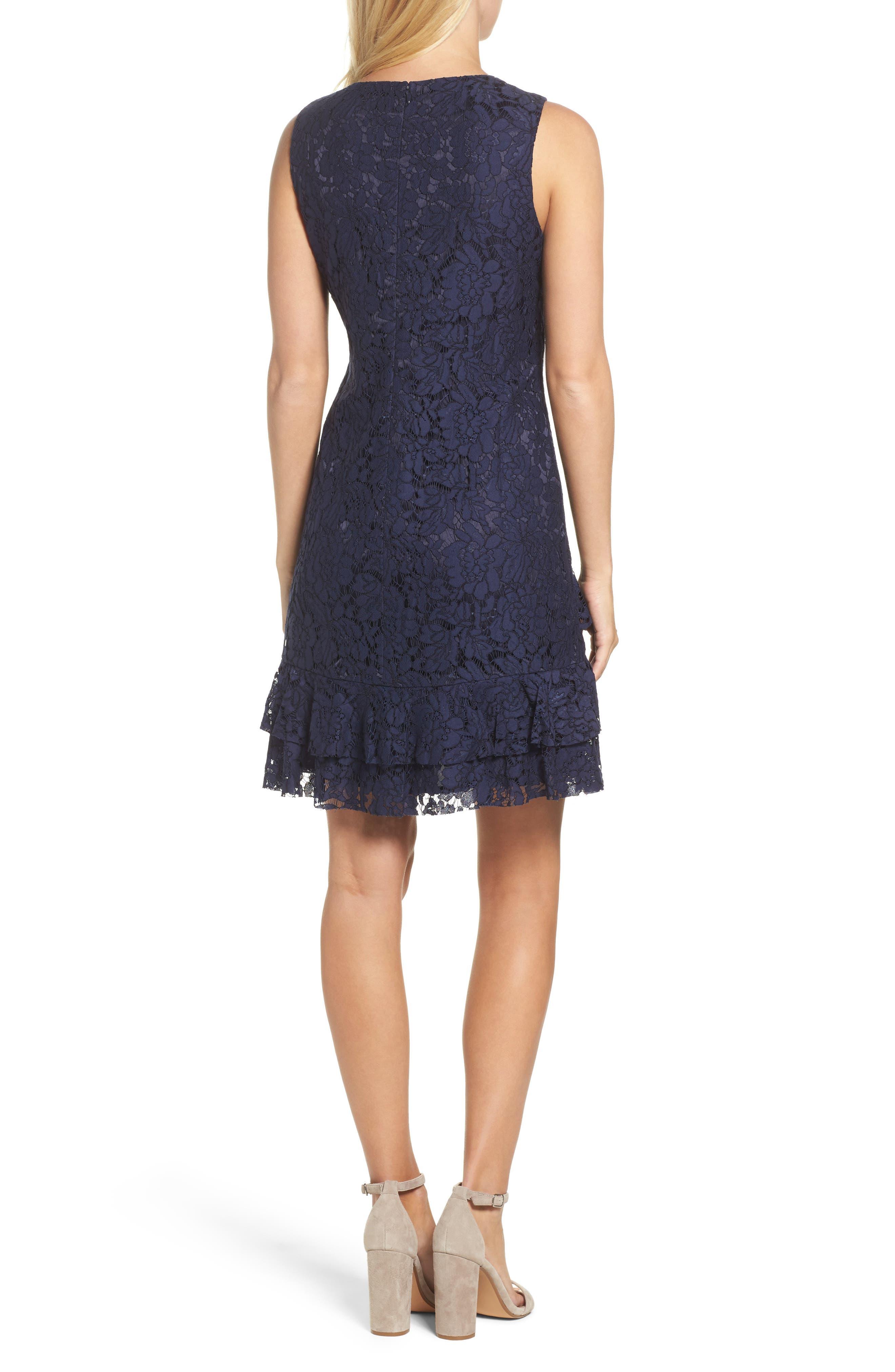 Ruffle Lace Shift Dress,                             Alternate thumbnail 2, color,                             Navy