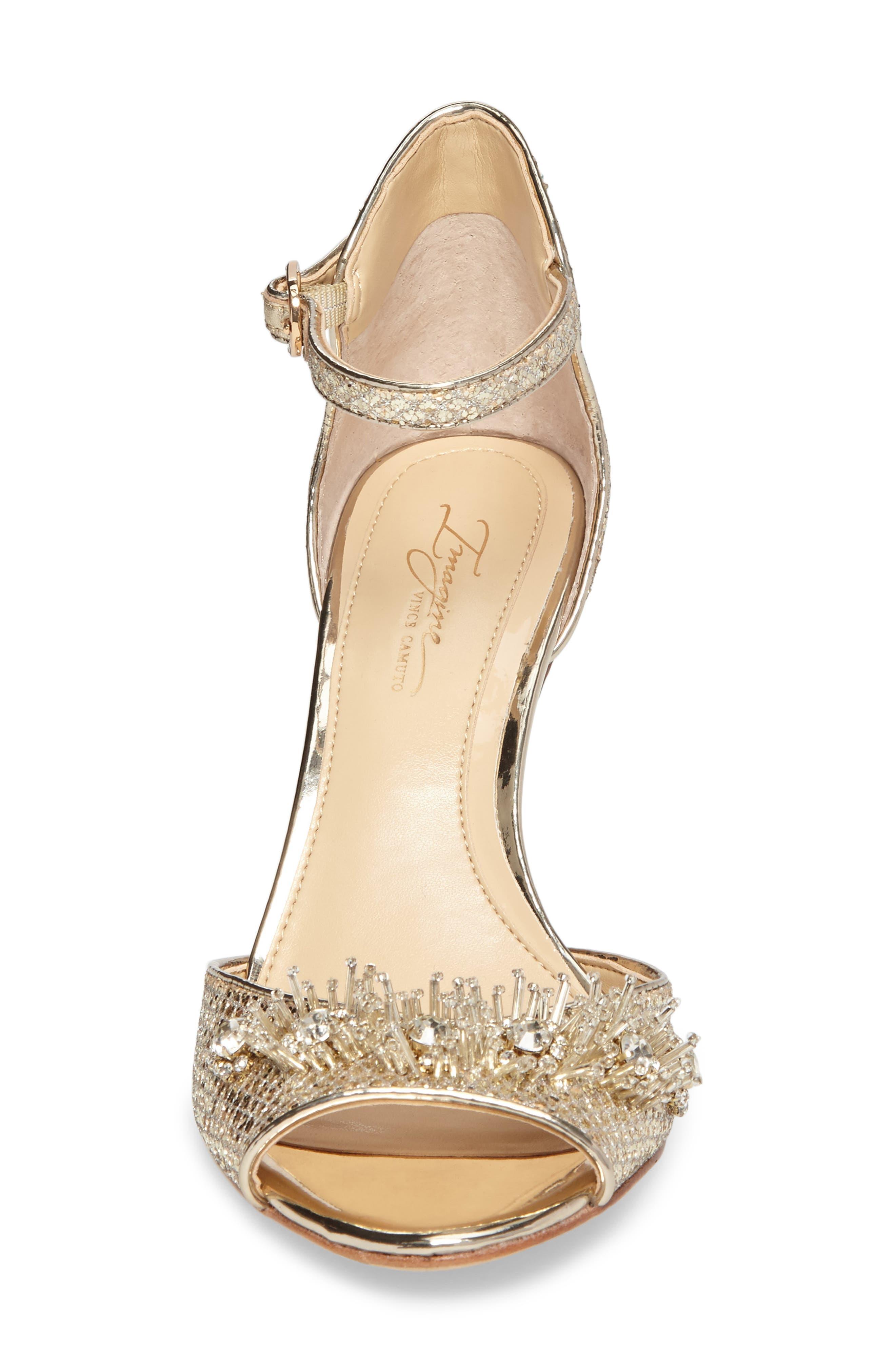 Prisca Embellished Sandal,                             Alternate thumbnail 4, color,                             Soft Gold