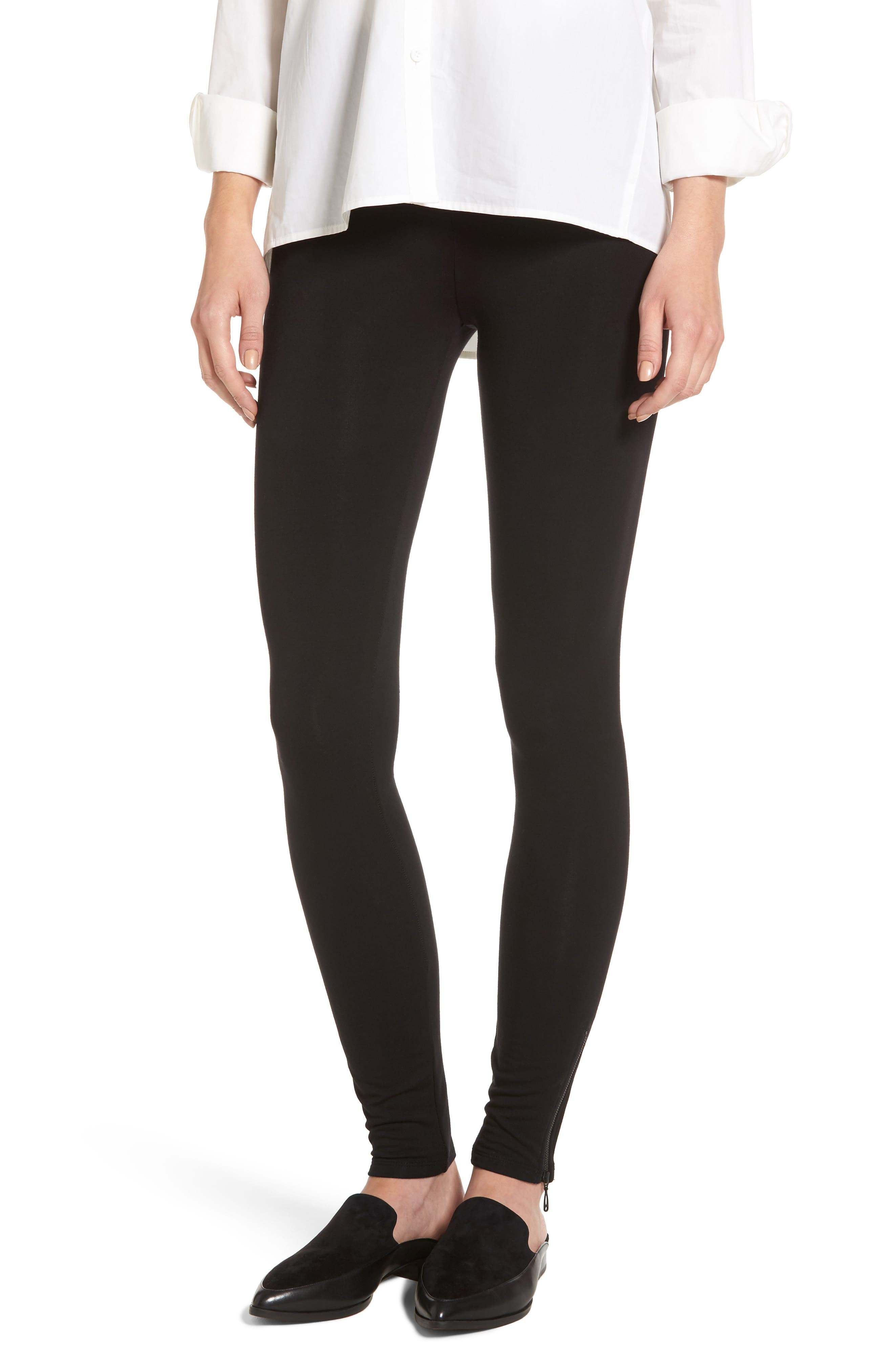 NIC + ZOE Cozy Zipper Leggings,                         Main,                         color, Black Onyx