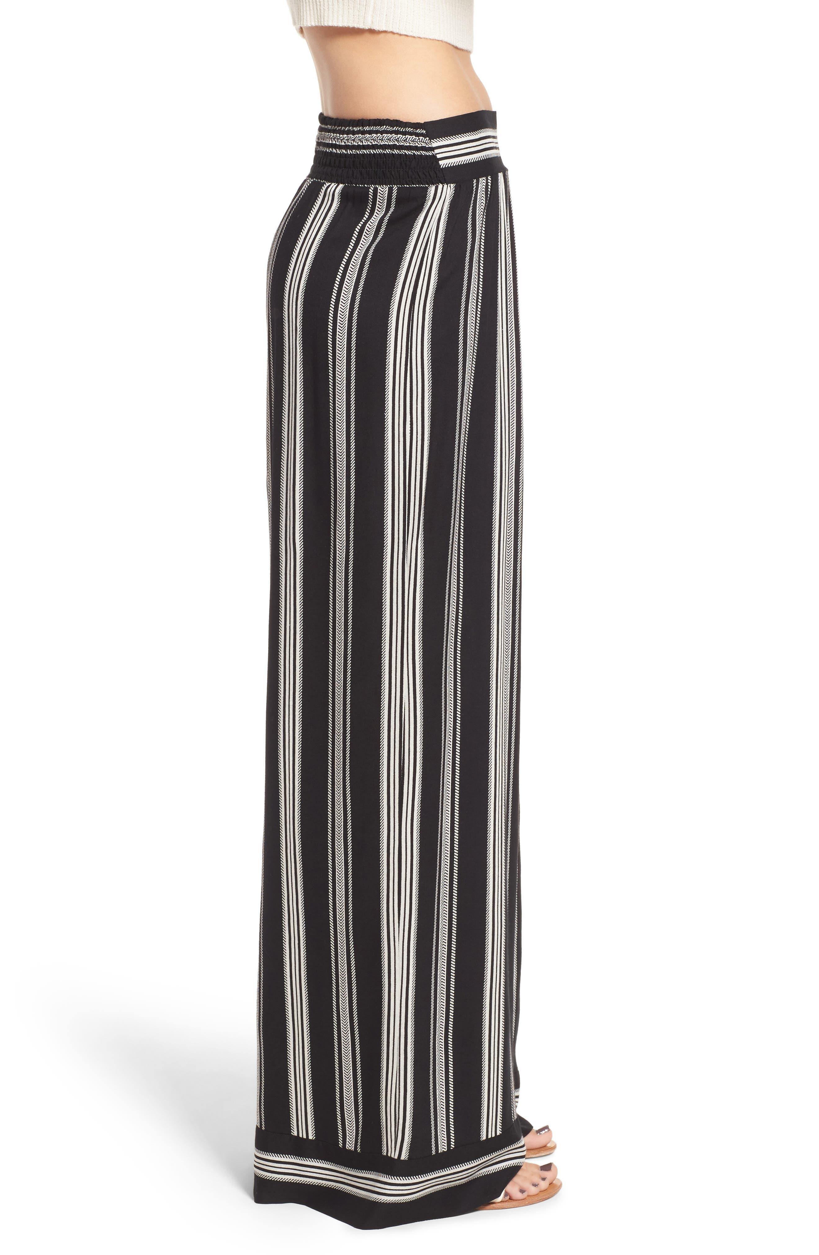Herringbone Wide Leg Pants,                             Alternate thumbnail 3, color,                             887R-Black/ Ivory