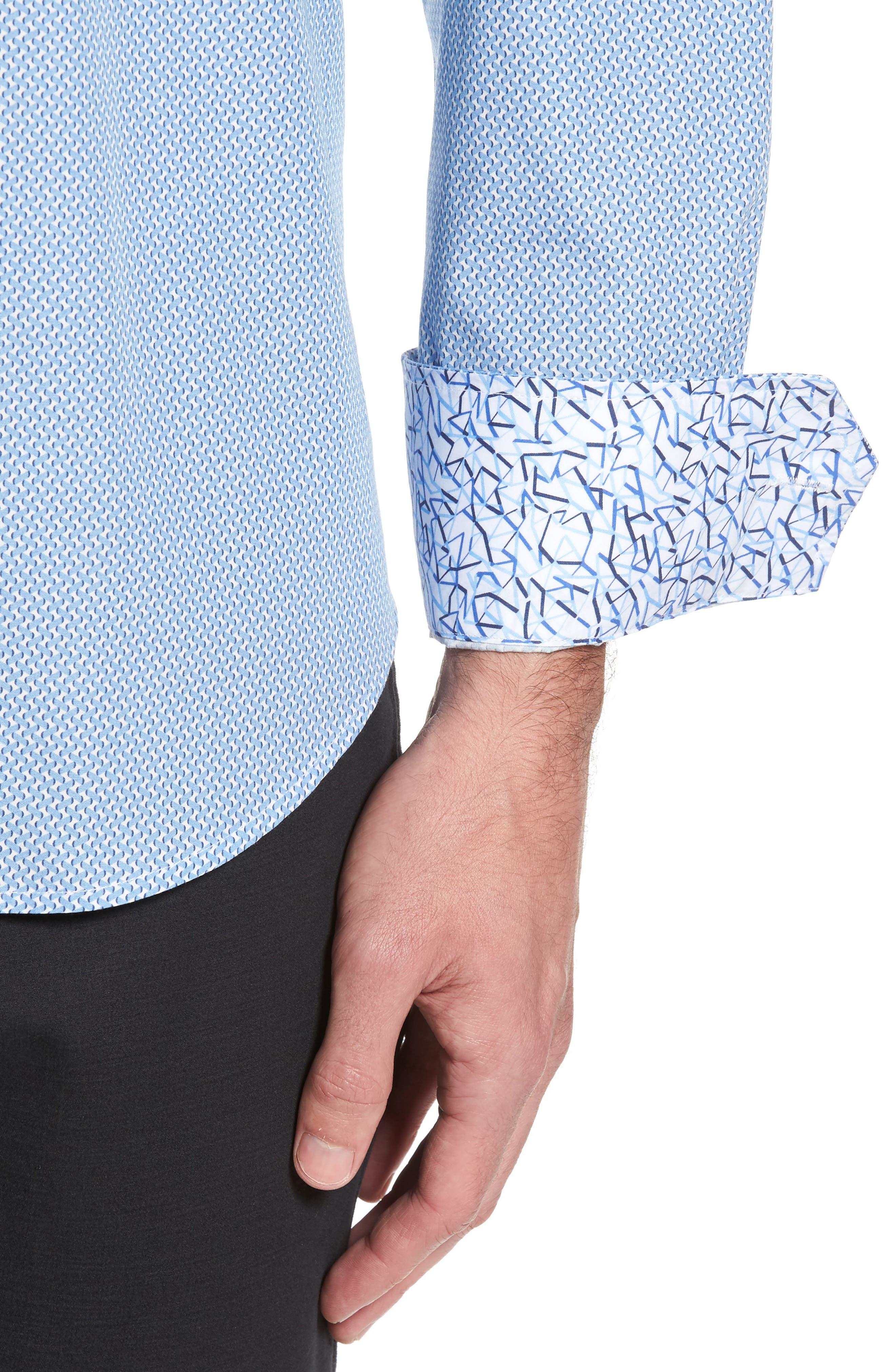 Shaped Fit Print Sport Shirt,                             Alternate thumbnail 4, color,                             Air Blue