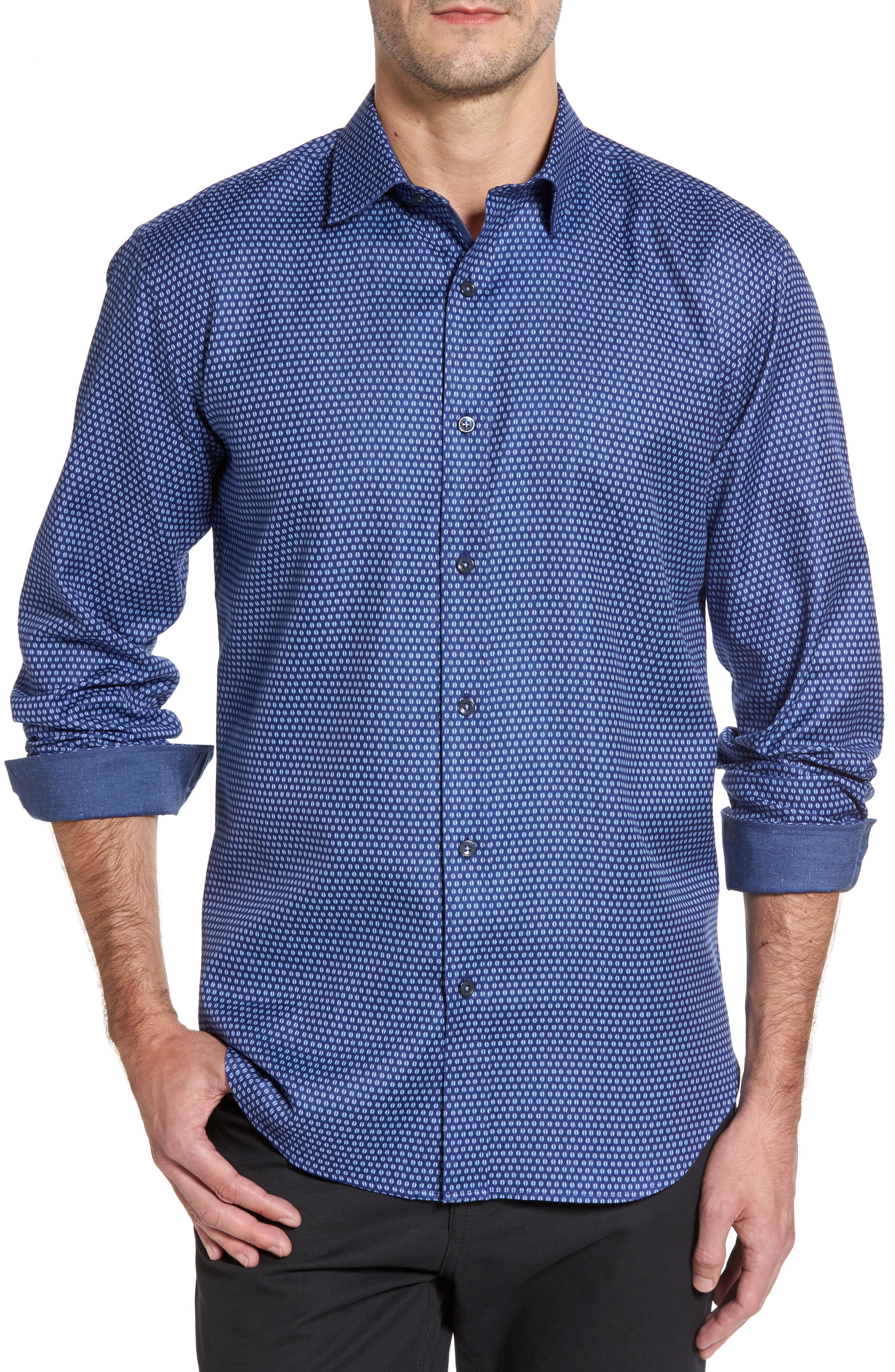 Shaped Fit Print Sport Shirt,                         Main,                         color, Night Blue