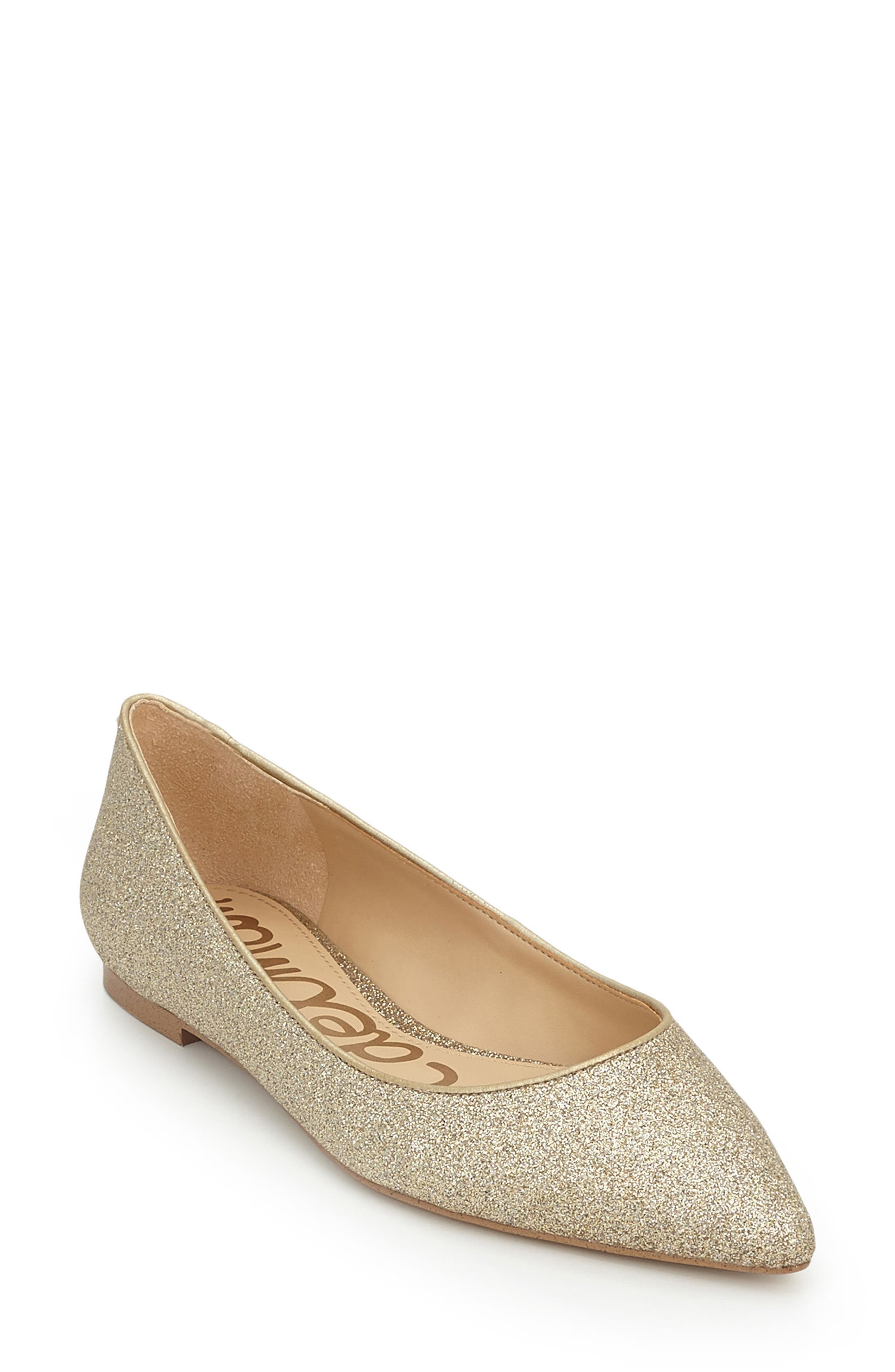 Rae Pointy Toe Flat,                         Main,                         color, Gold Glitter