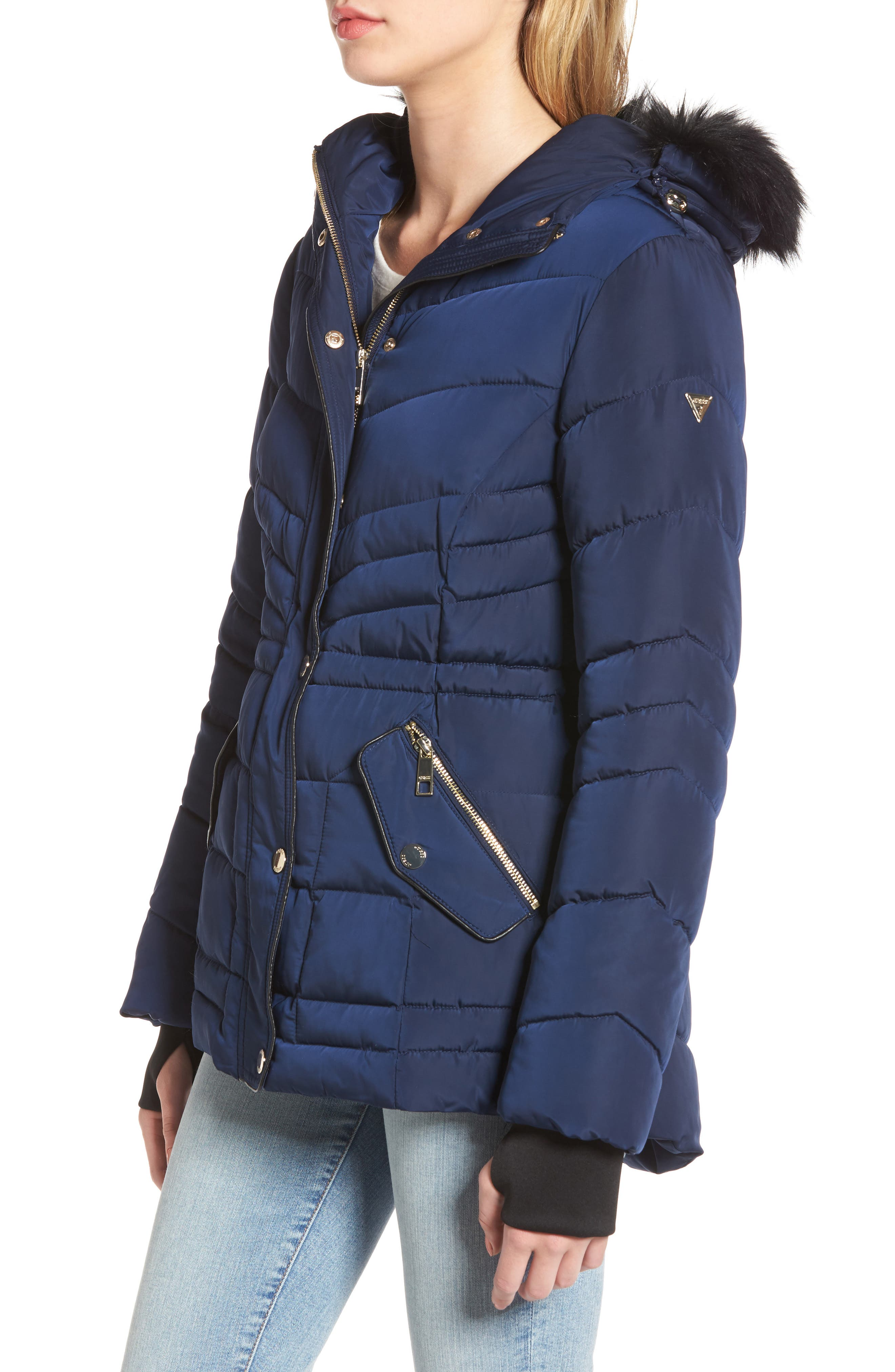 Alternate Image 3  - GUESS Faux Fur Trim Quilted Anorak