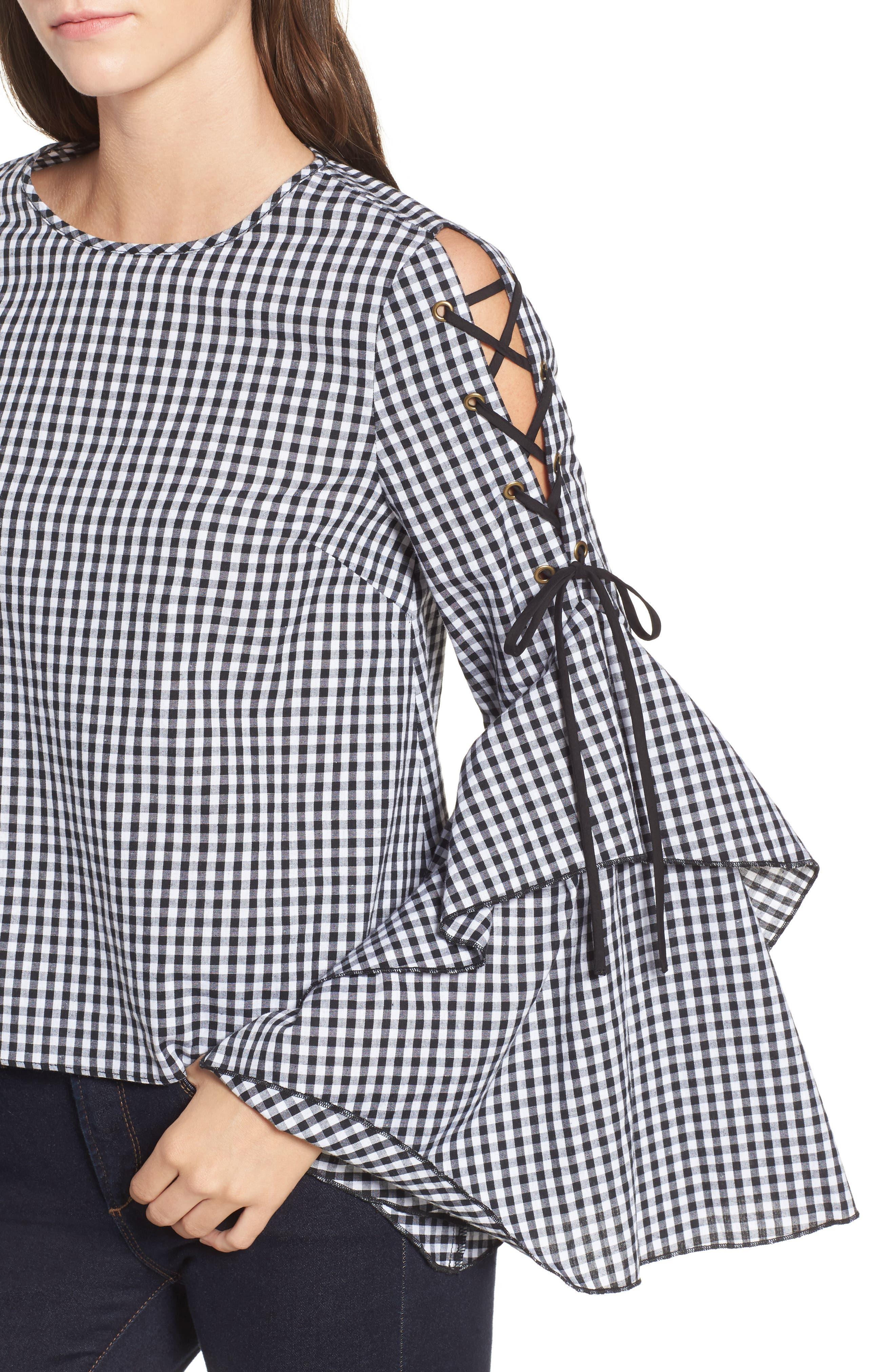 Alternate Image 4  - STOREE Ruffle Sleeve Gingham Top