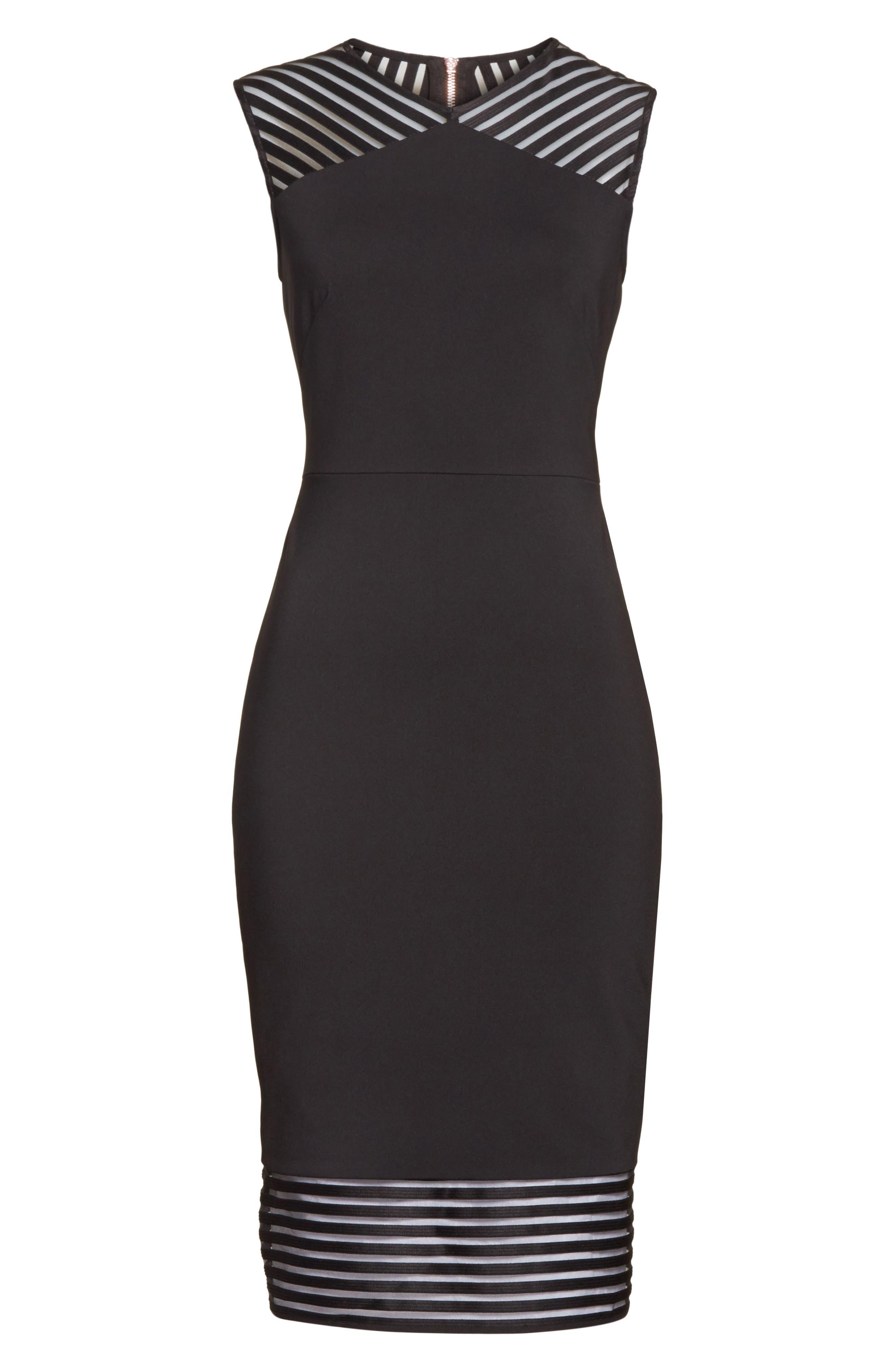 Lucette Mesh Detail Body Con Dress,                             Alternate thumbnail 6, color,                             Black