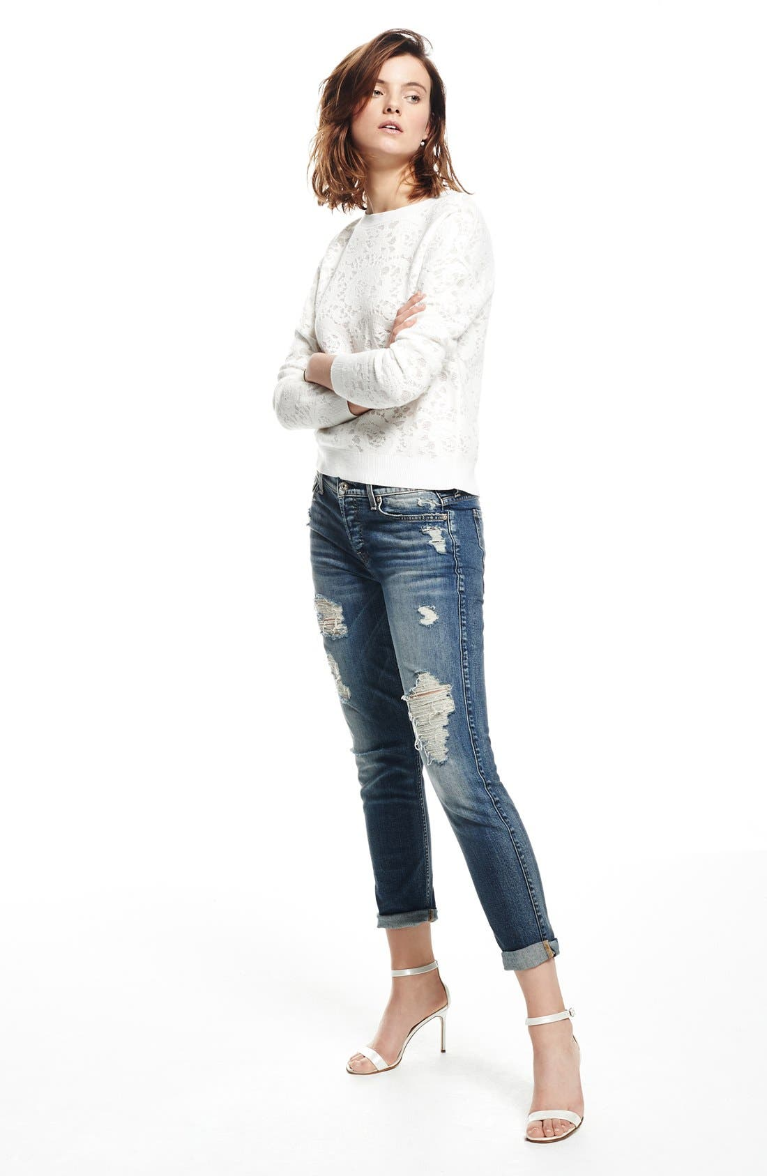 Alternate Image 4  - 7 For All Mankind® 'Josefina' Boyfriend Jeans (Red Cast Heritage Blue)