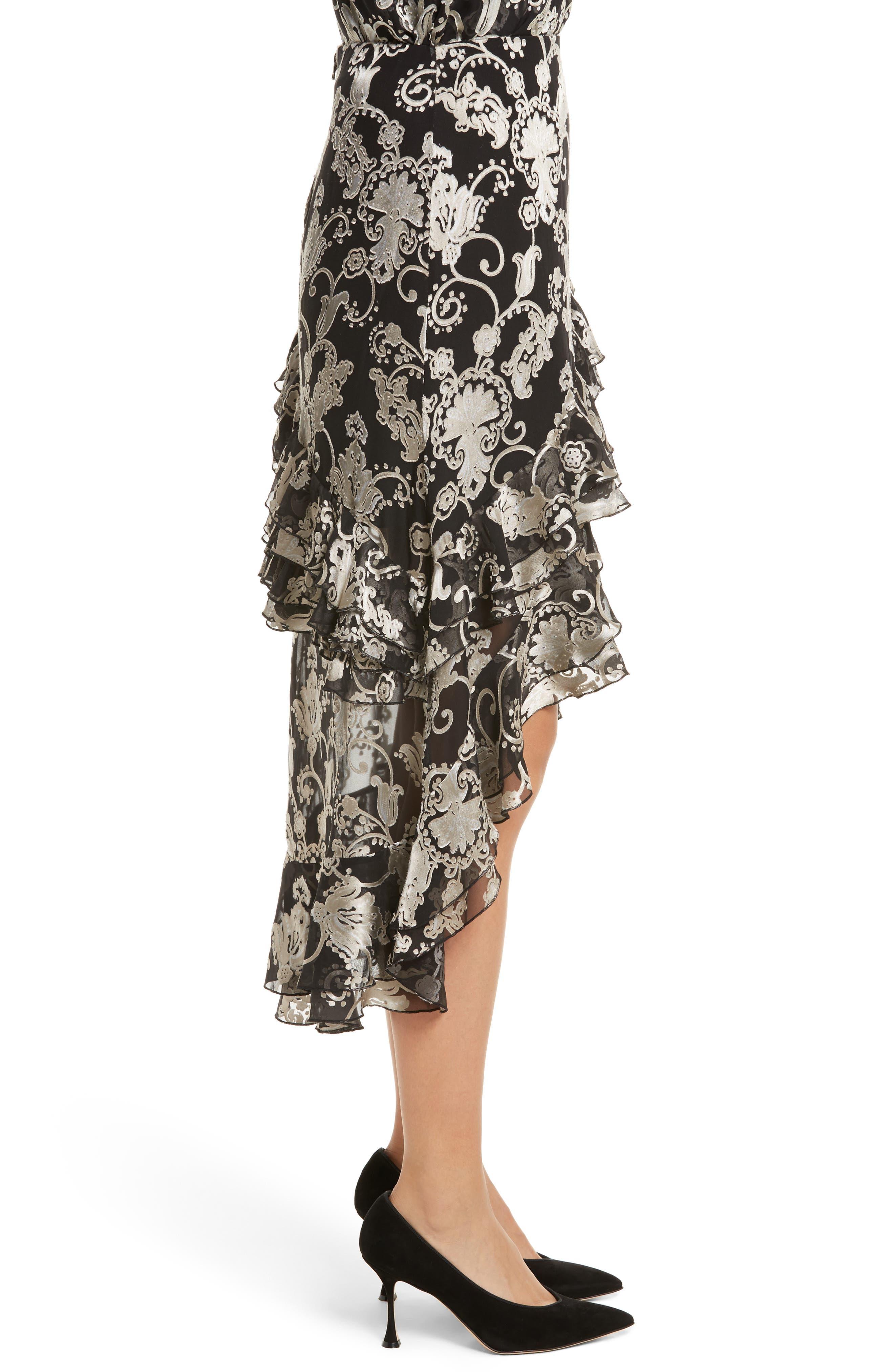 Sasha Asymmetrical Tiered Ruffle Skirt,                             Alternate thumbnail 4, color,                             Black/ White
