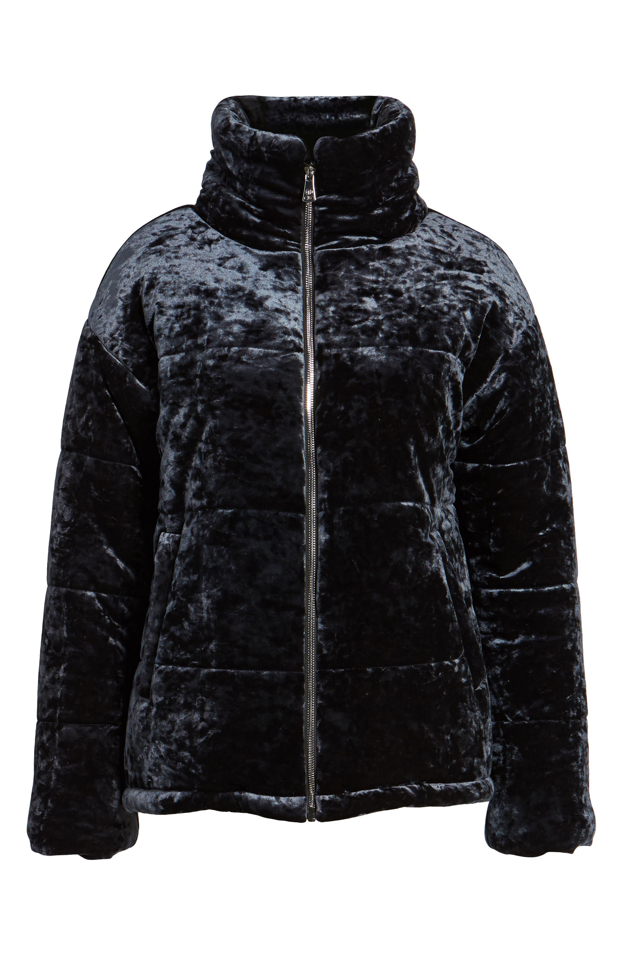 Alternate Image 6  - Bernardo Oversize Velvet Bomber Jacket
