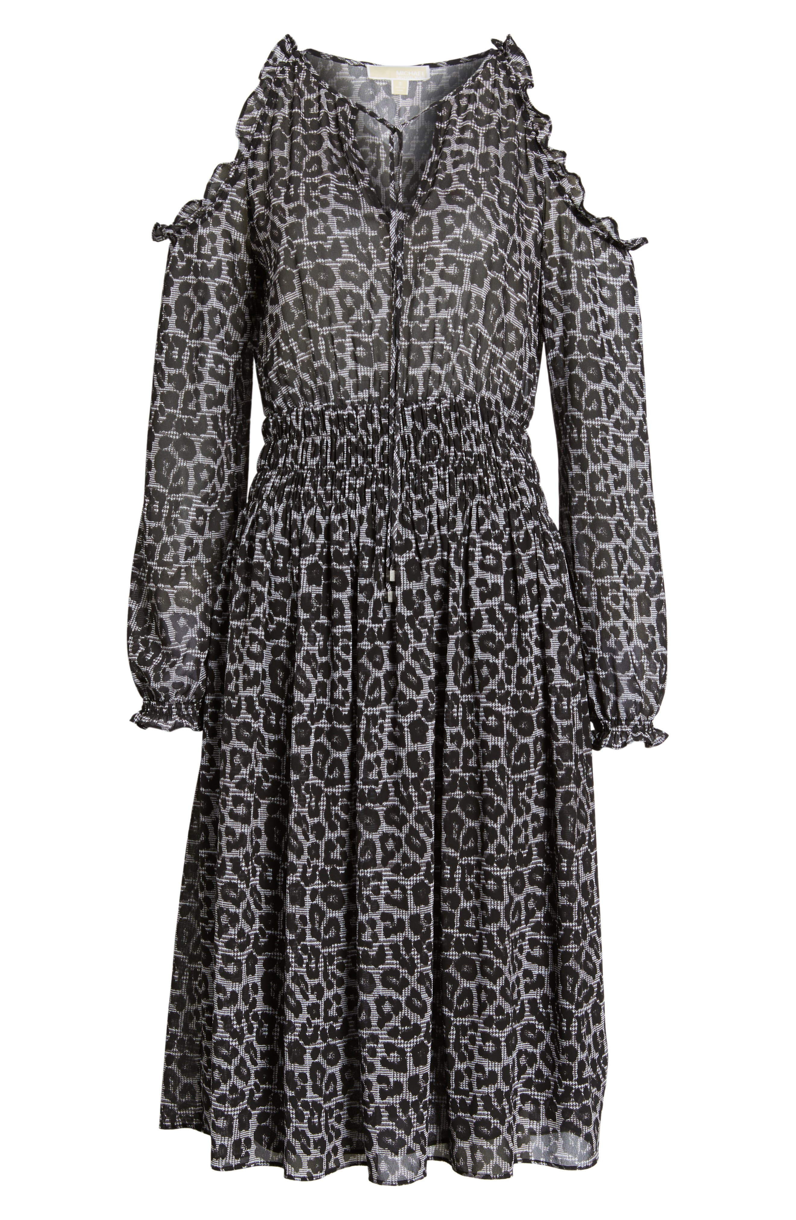 Alternate Image 6  - MICHAEL Michael Kors Leopard Cold Shoulder Midi Dress