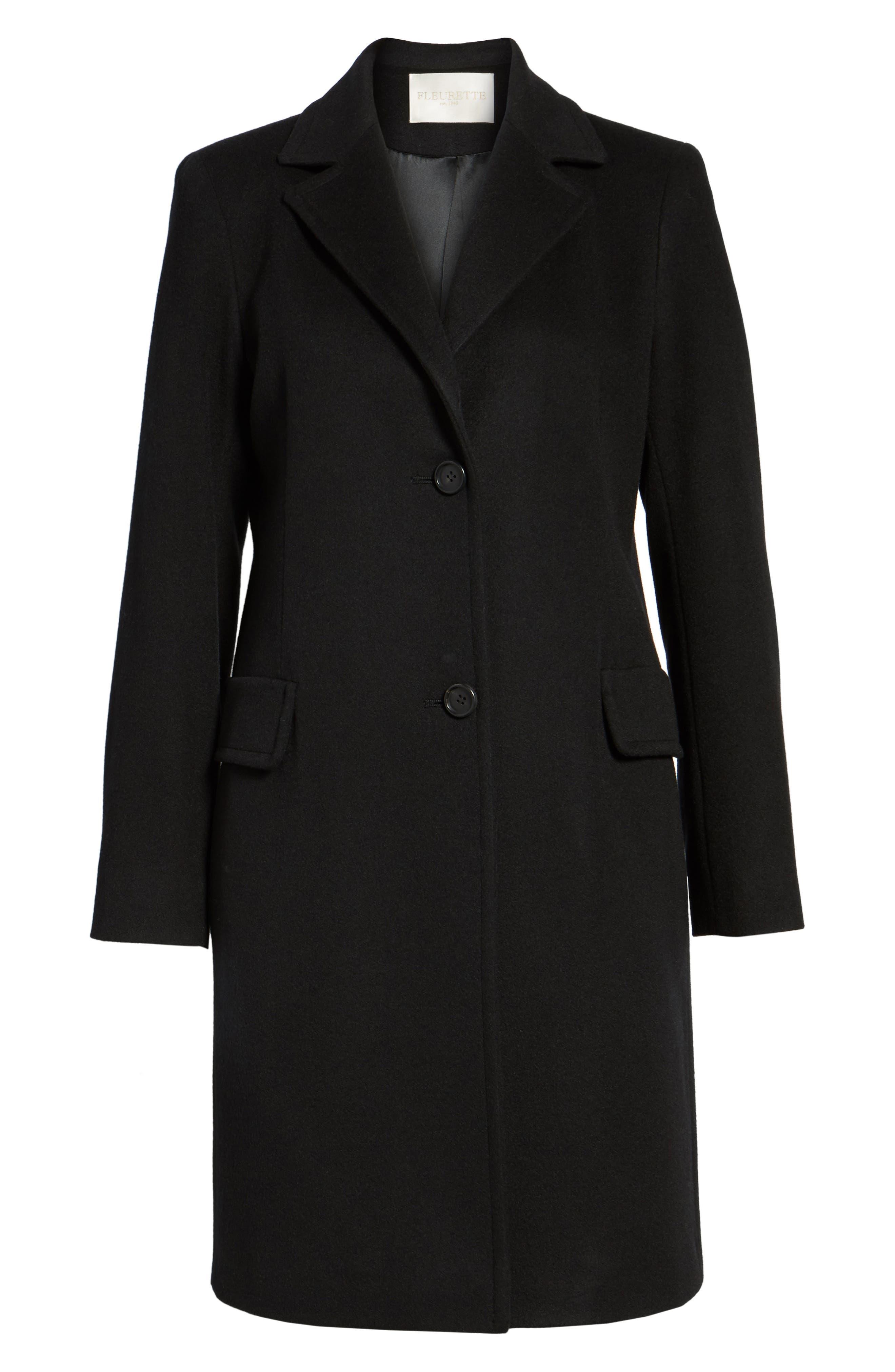 Alternate Image 6  - Fleurette Modern Reefer Coat (Regular & Petite)