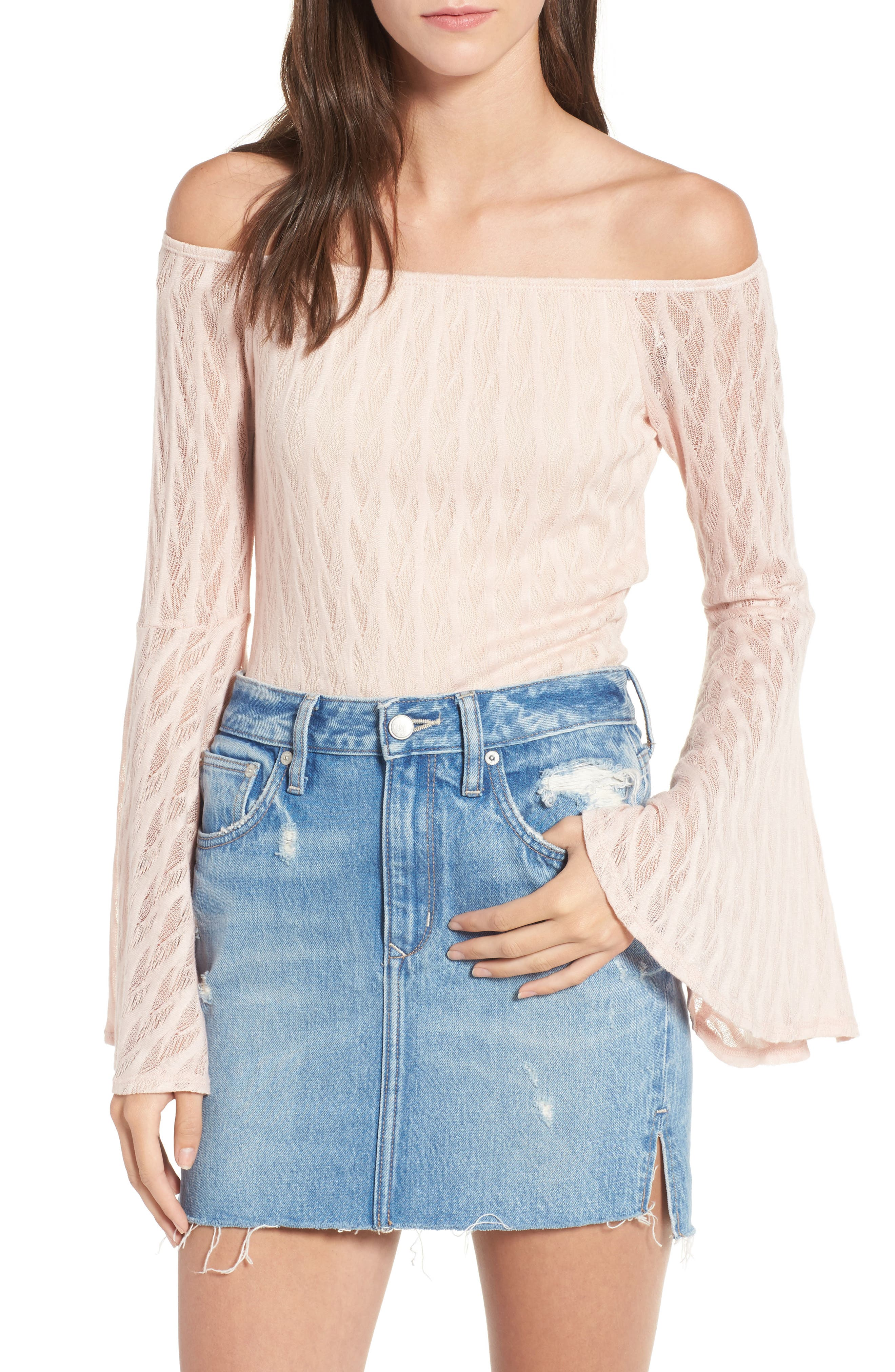 Bell Sleeve Off the Shoulder Top,                         Main,                         color, Peach
