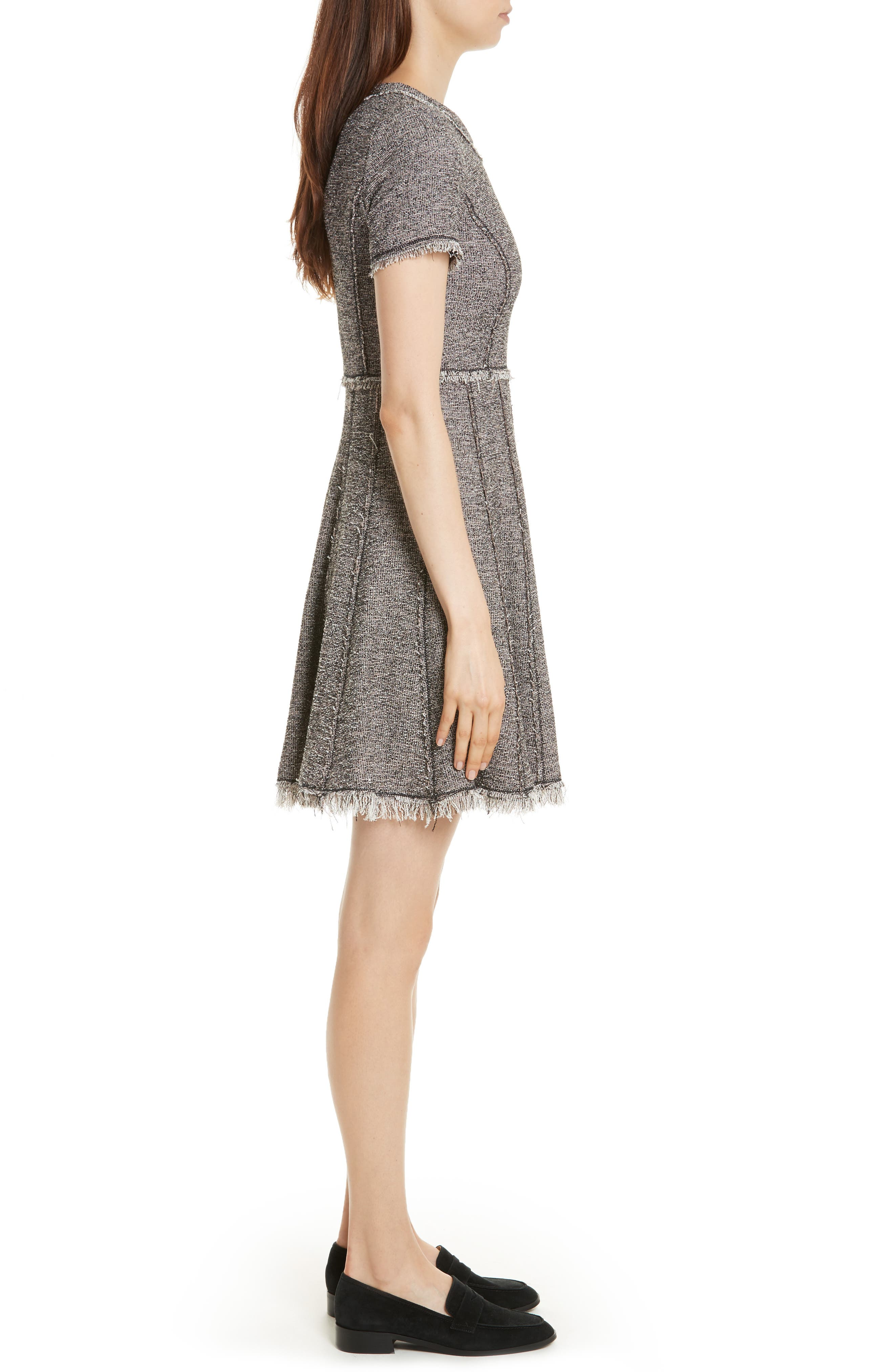 Stretch Tweed Dress,                             Alternate thumbnail 3, color,                             Nude Combo