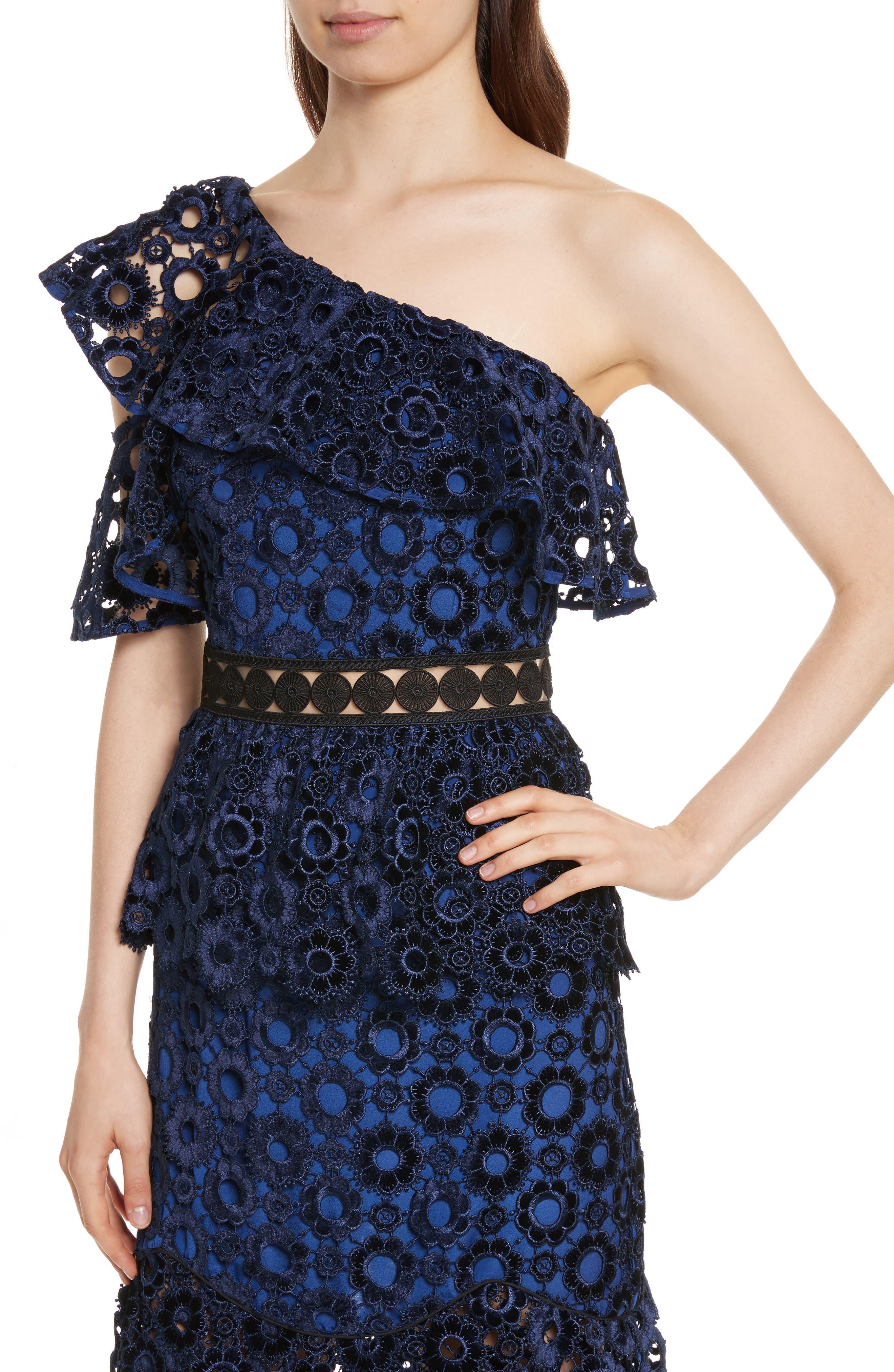 Lace One-Shoulder Midi Dress,                             Alternate thumbnail 4, color,                             Blue