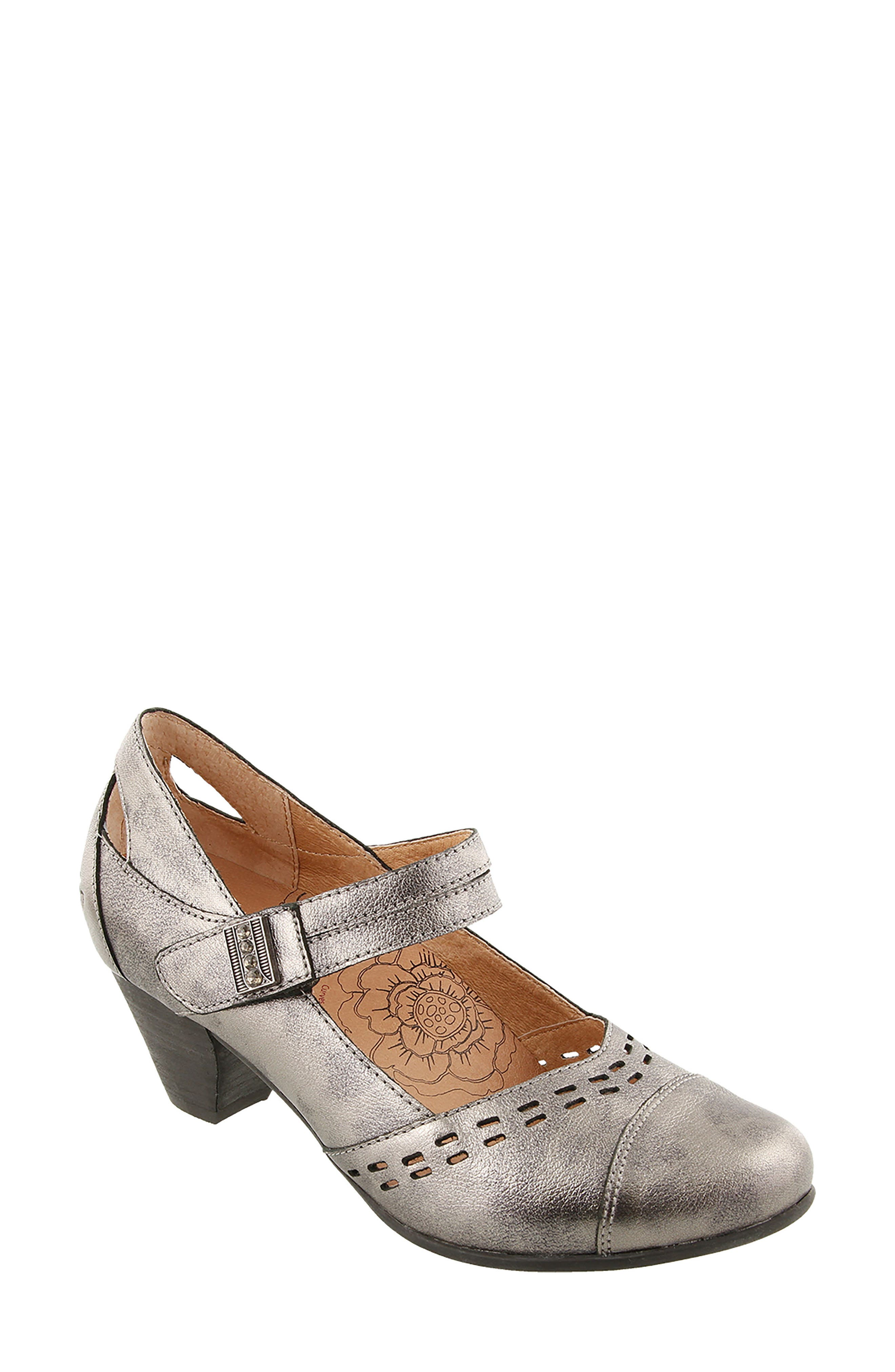 Stunner Laser Cutout Mary Jane Pump,                         Main,                         color, Pewter Leather