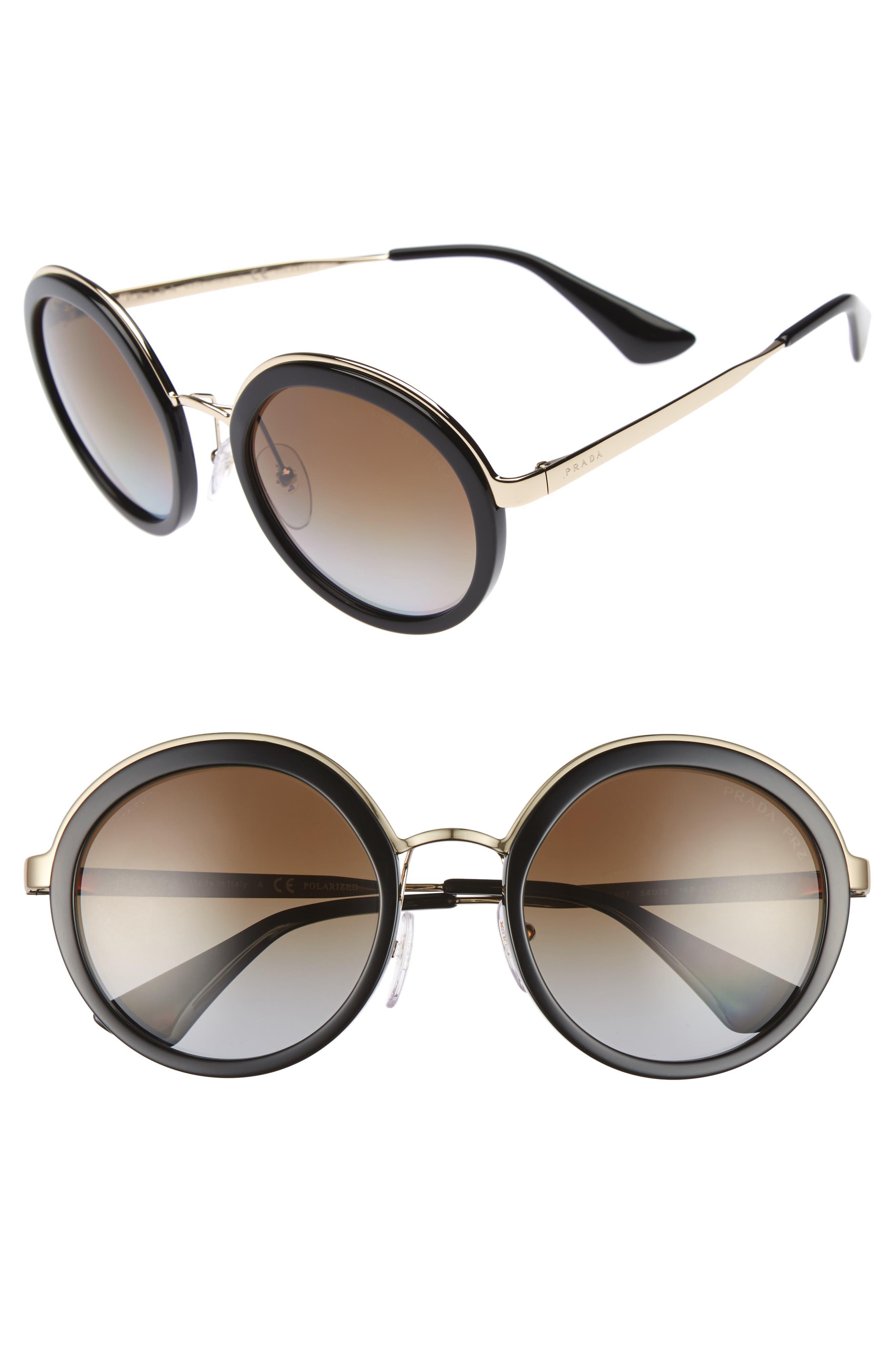 54mm Polarized Round Sunglasses,                         Main,                         color, Black Polar