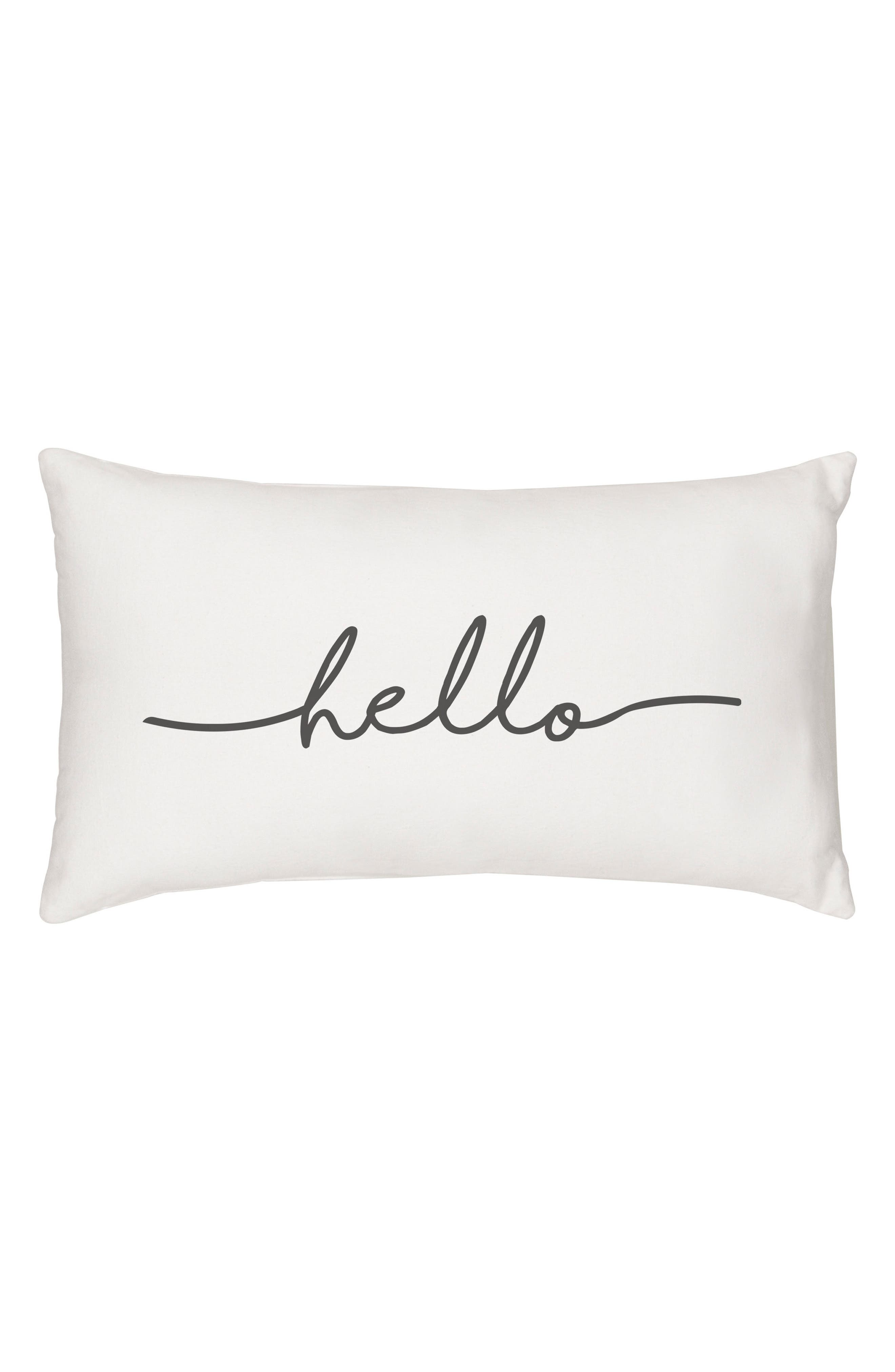 Hello Lumbar Accent Pillow,                         Main,                         color, Grey