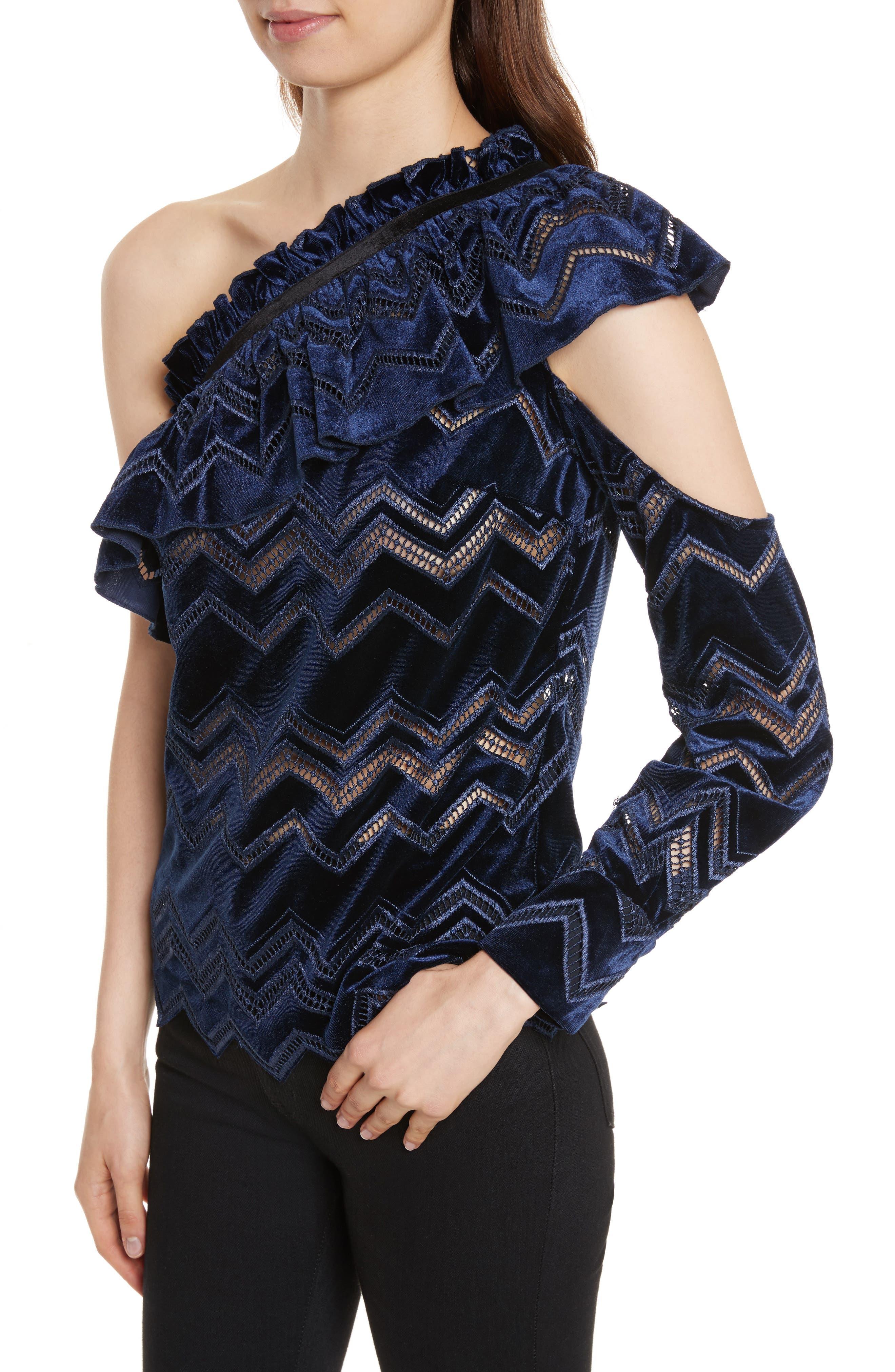 Zigzag Embroidered Velvet Top,                             Alternate thumbnail 4, color,                             Blue