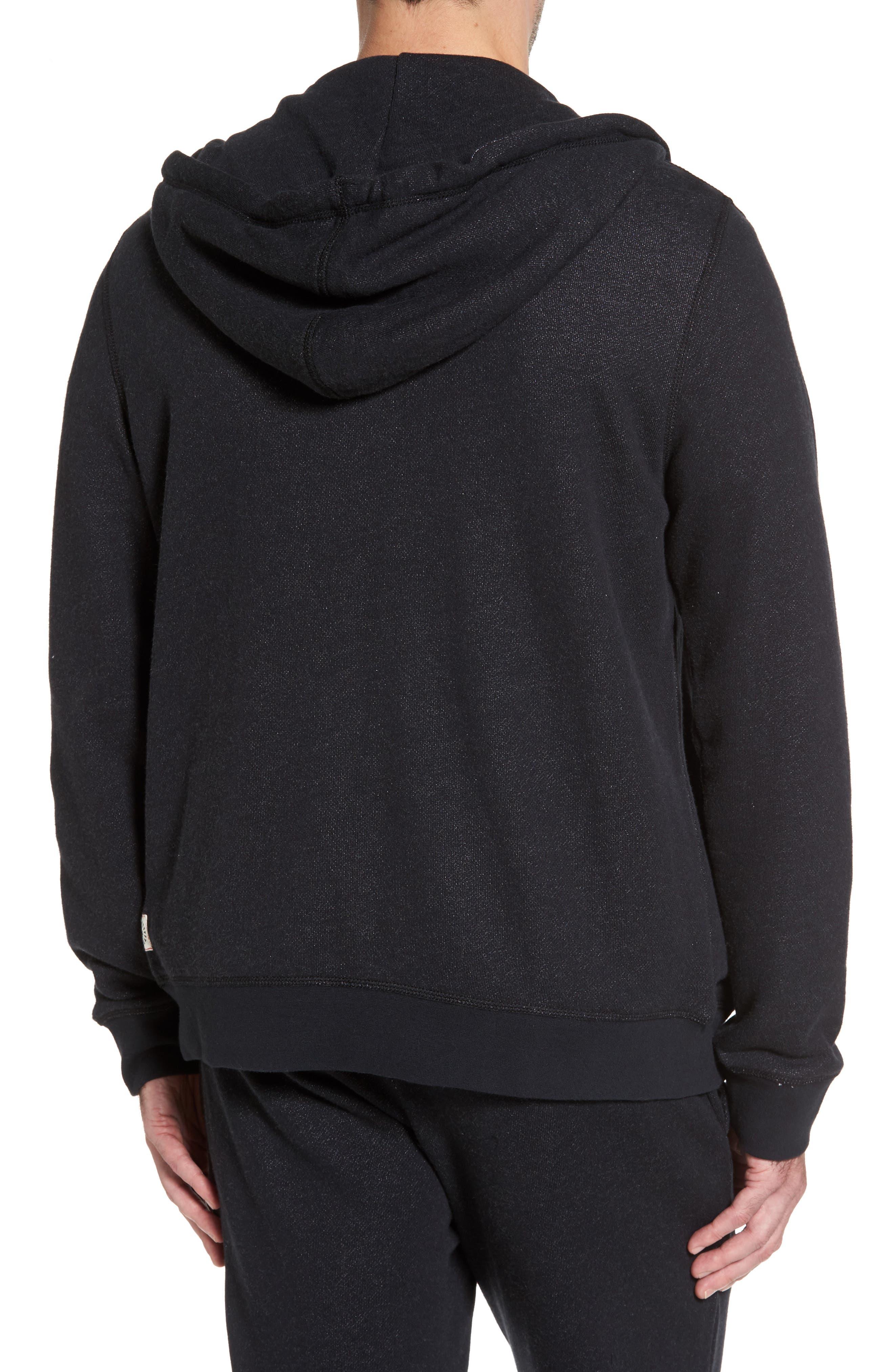 French Terry Full Zip Hoodie,                             Alternate thumbnail 2, color,                             Black