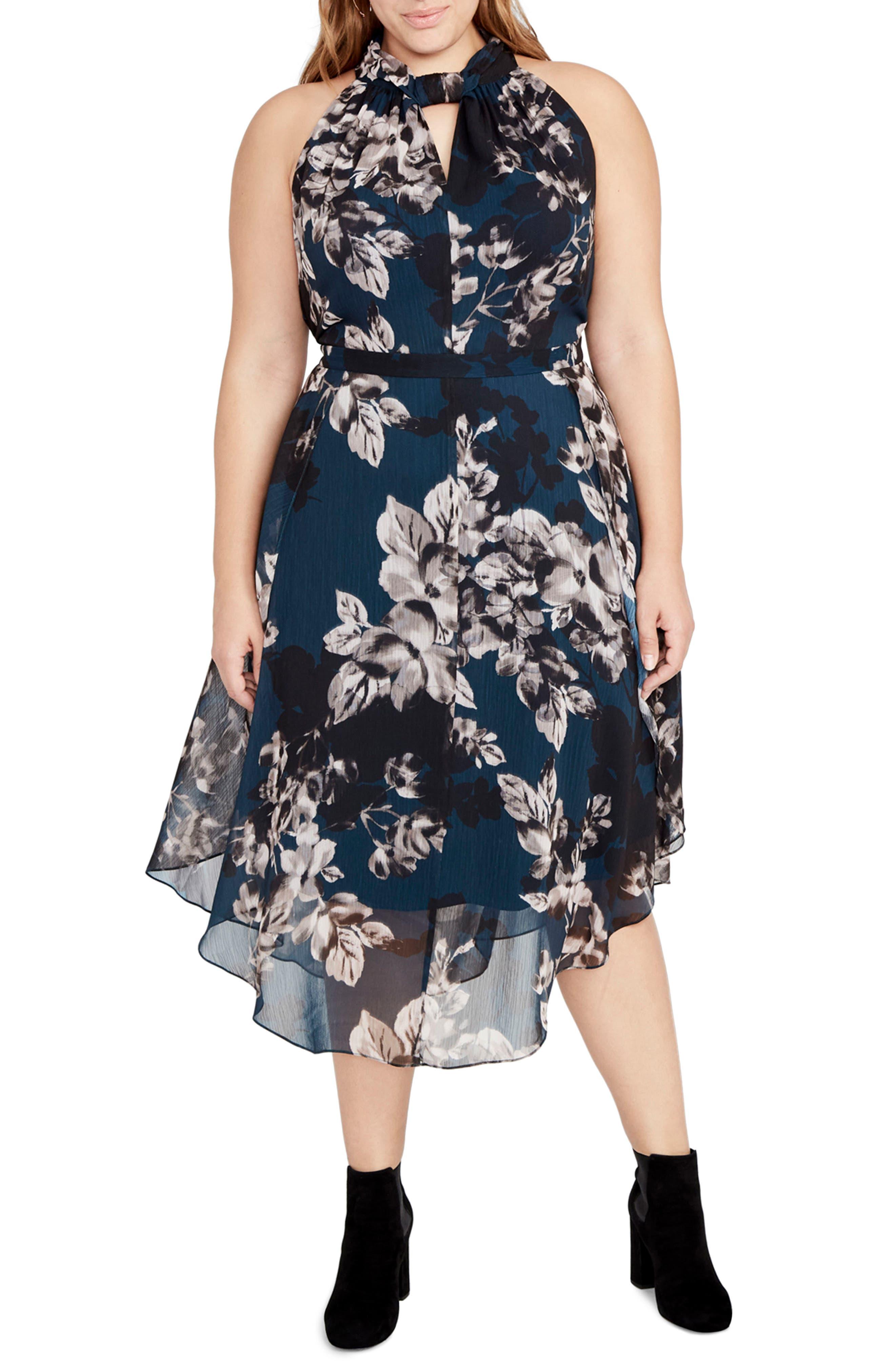 RACHEL Rachel Roy Floral Chiffon Midi Dress (Plus Size)