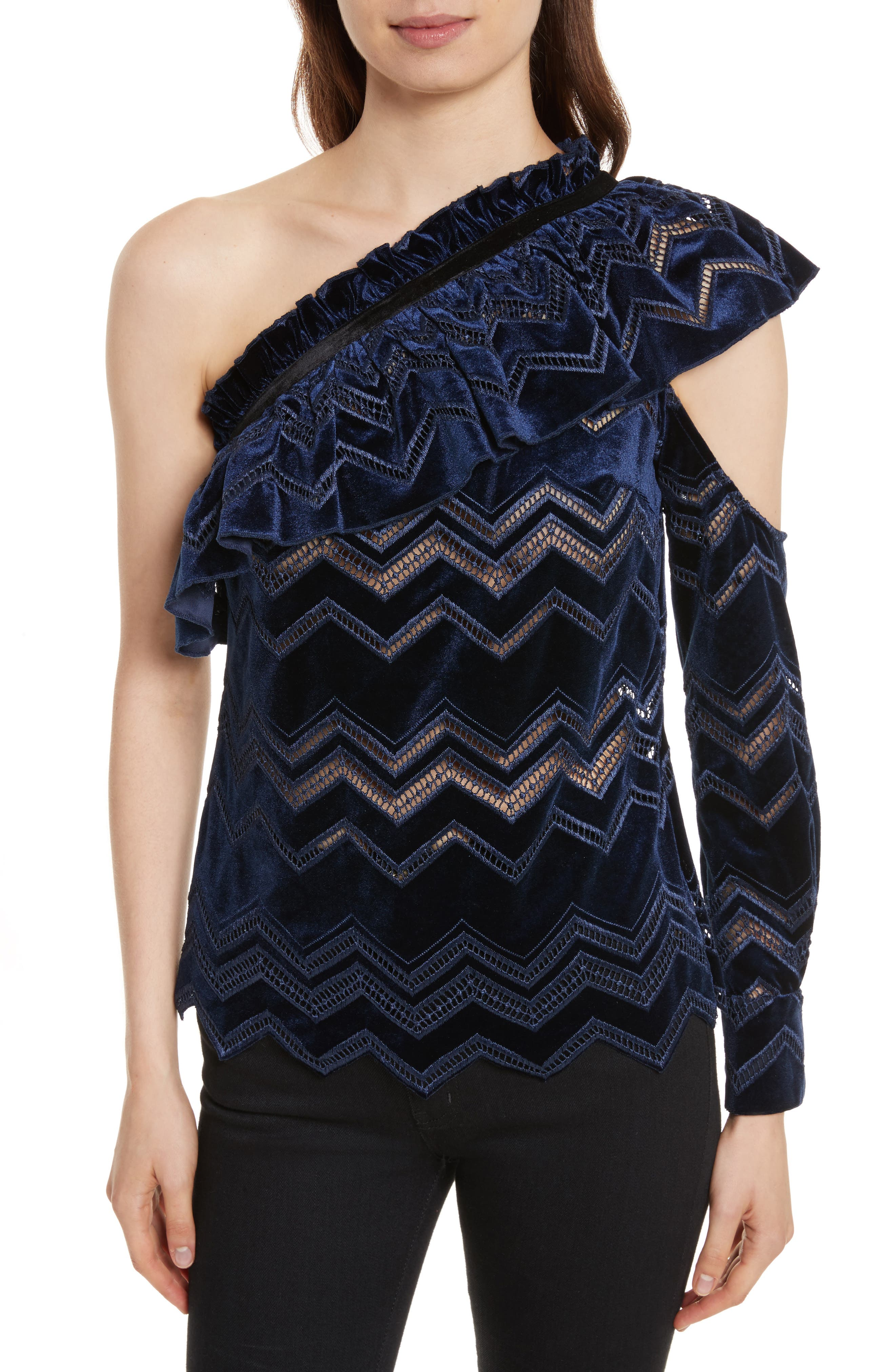 Zigzag Embroidered Velvet Top,                         Main,                         color, Blue