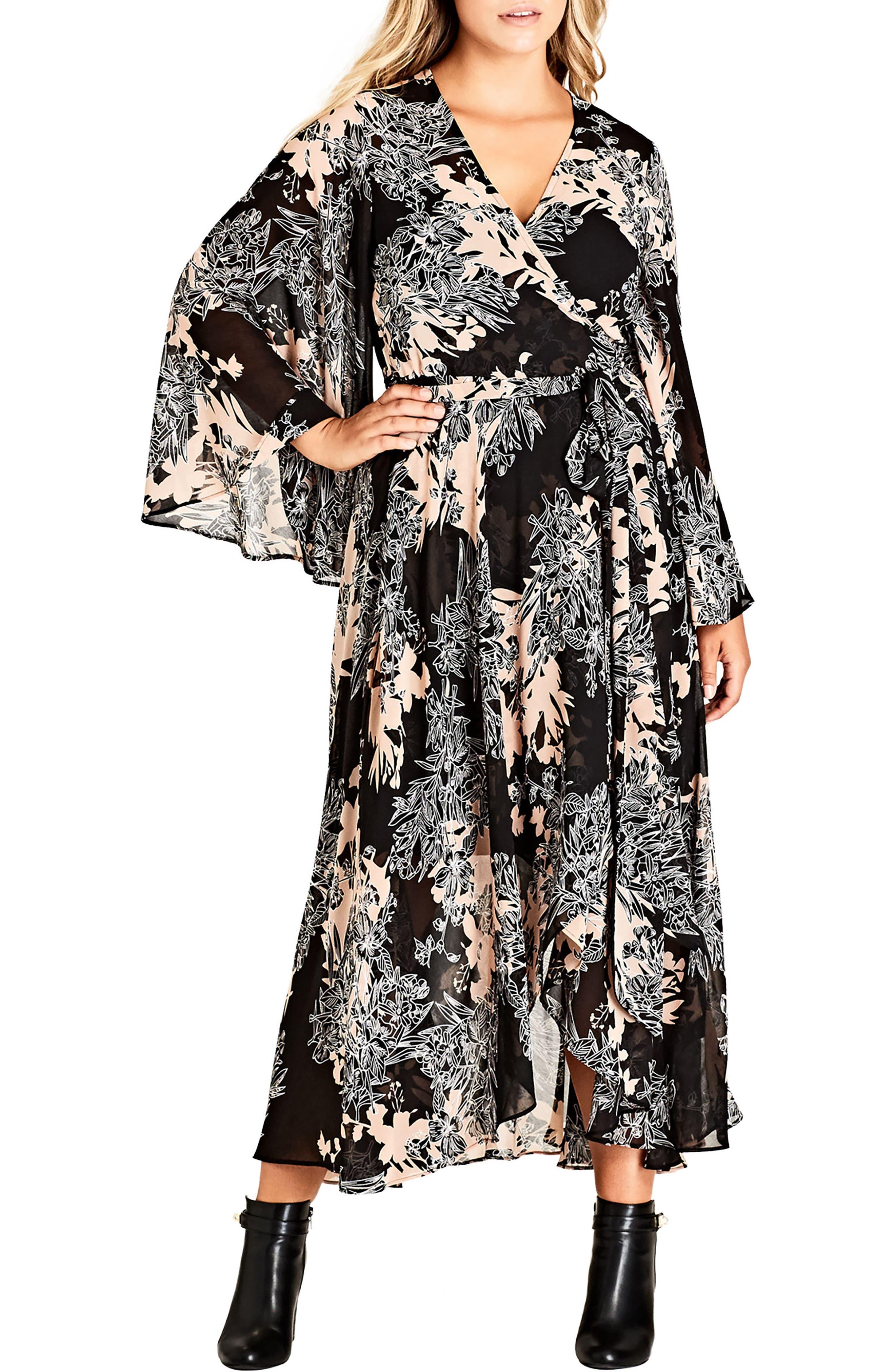 Main Image - City Chic Shadow Floral Maxi Dress (Plus Size)