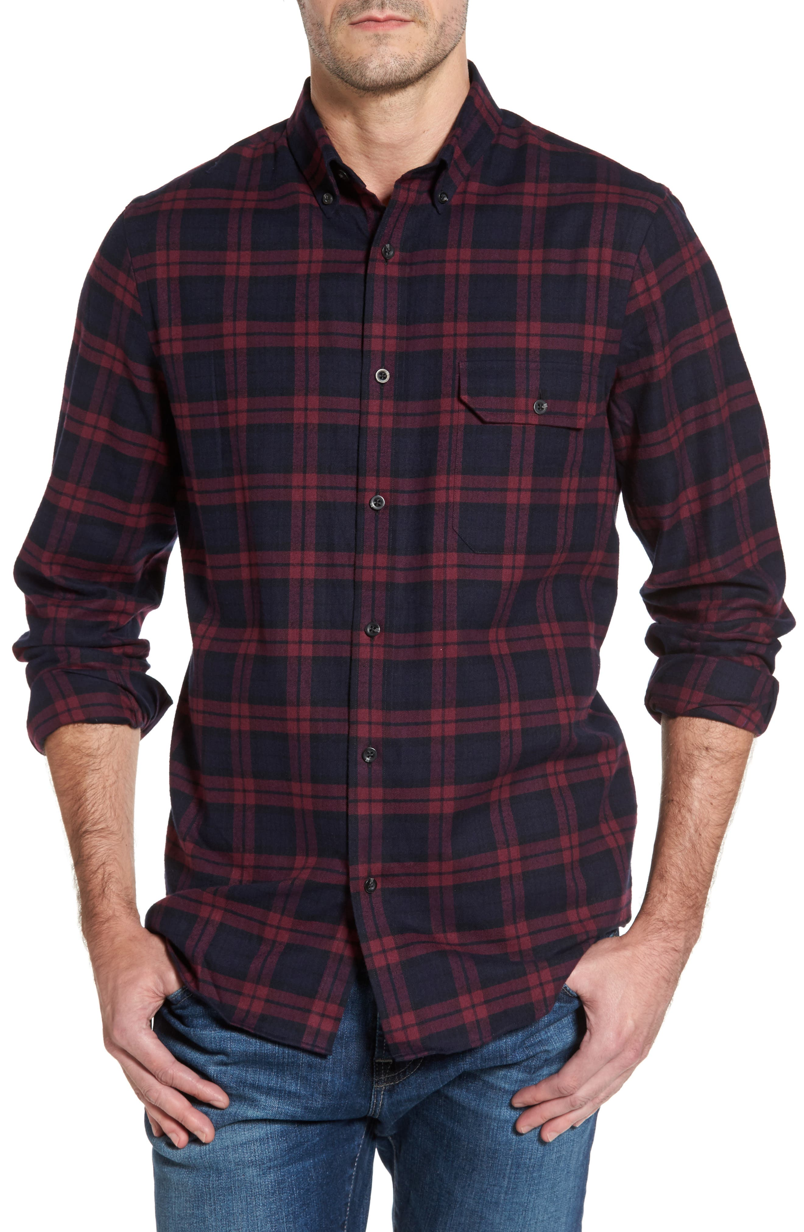 Regular Fit Plaid Sport Shirt,                             Main thumbnail 1, color,                             Red Chili Plaid Flannel