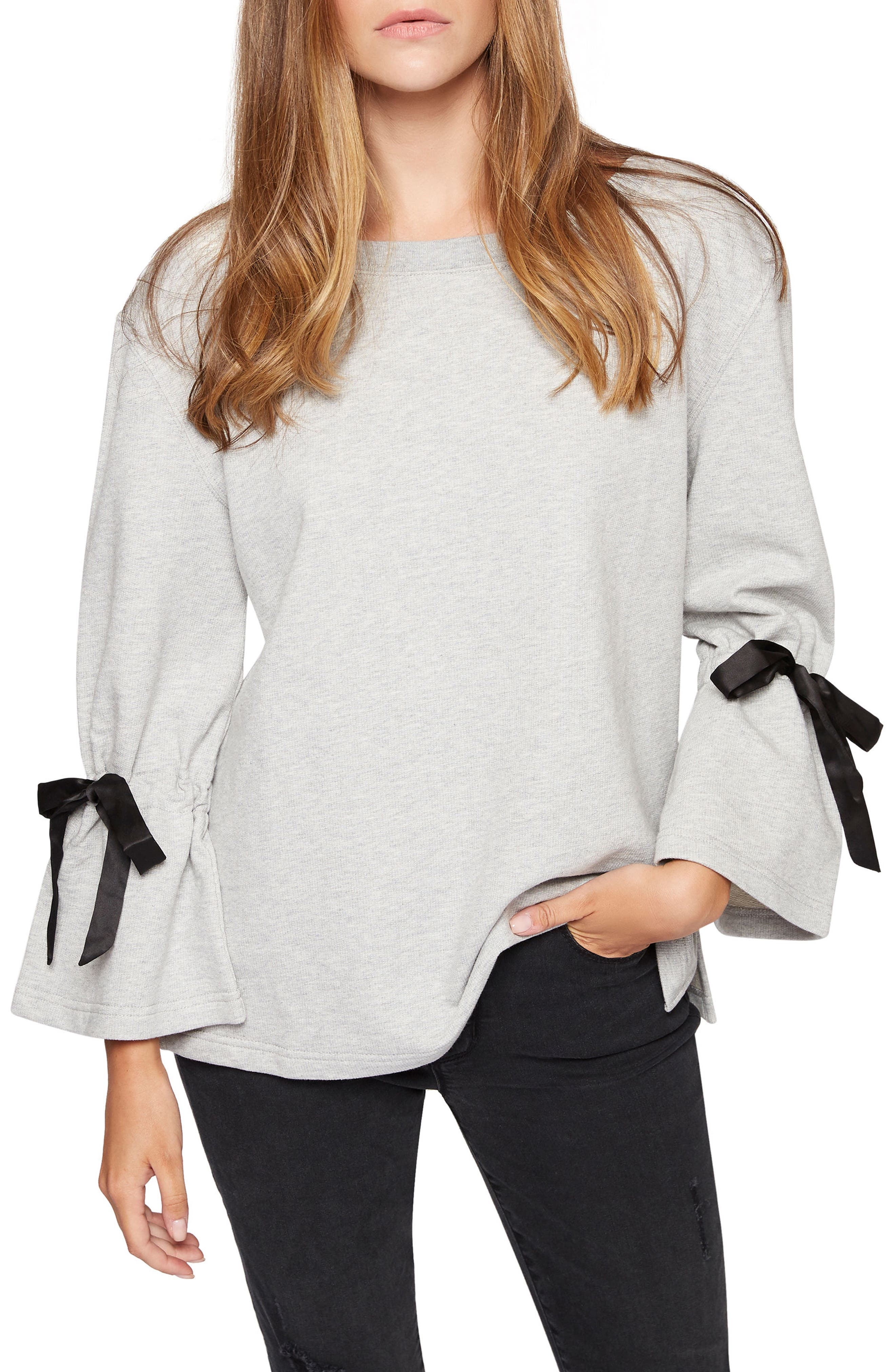 Alternate Image 1 Selected - Sanctuary Tierney Tie Sleeve Sweatshirt