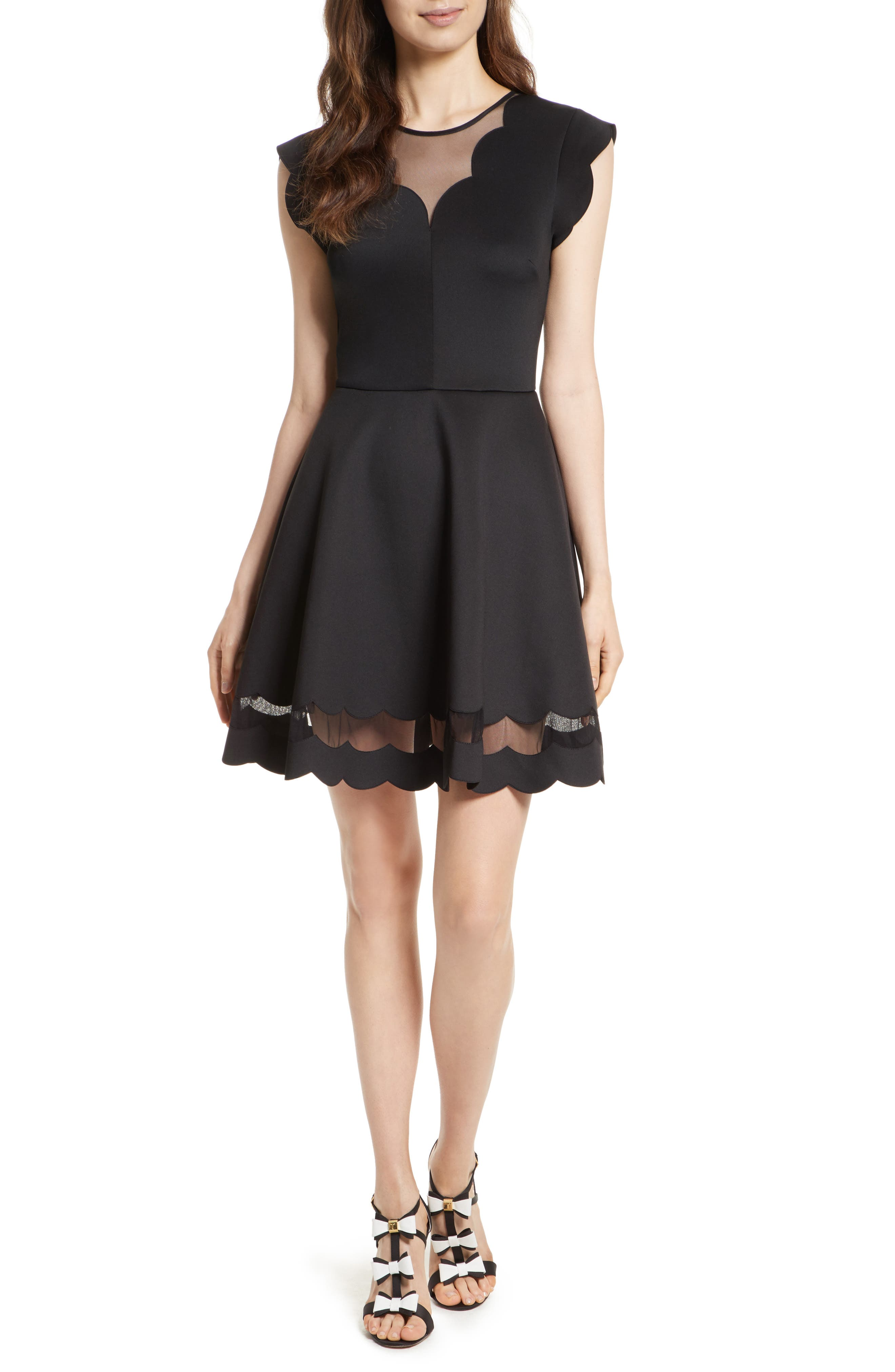 Mesh Panel Scallop Skater Dress,                             Main thumbnail 1, color,                             Black