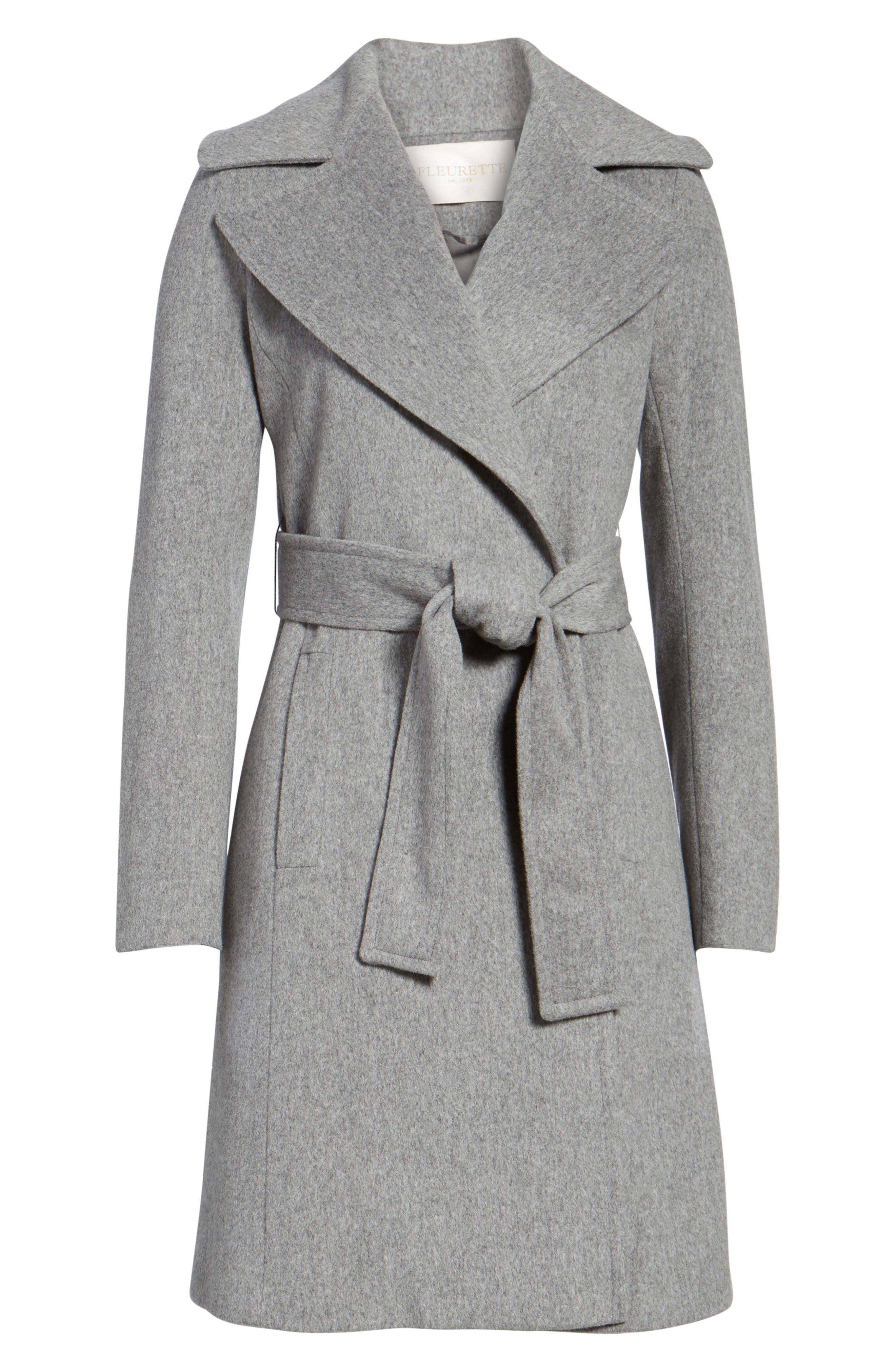 Alternate Image 6  - Fleurette Wool Wrap Coat (Regular & Petite)
