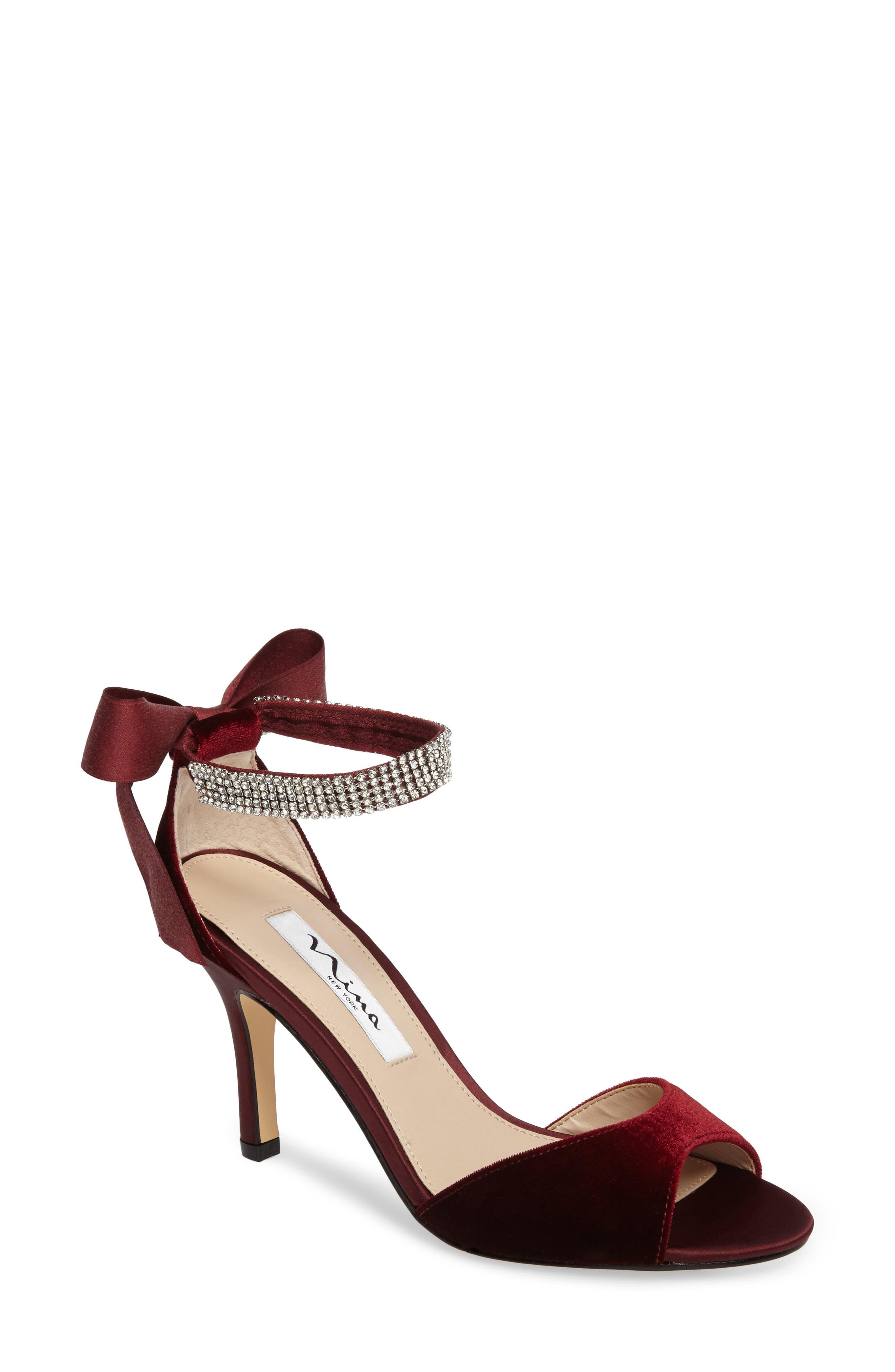 Main Image - Nina 'Vinnie' Crystal Embellished Ankle Strap Sandal (Women)