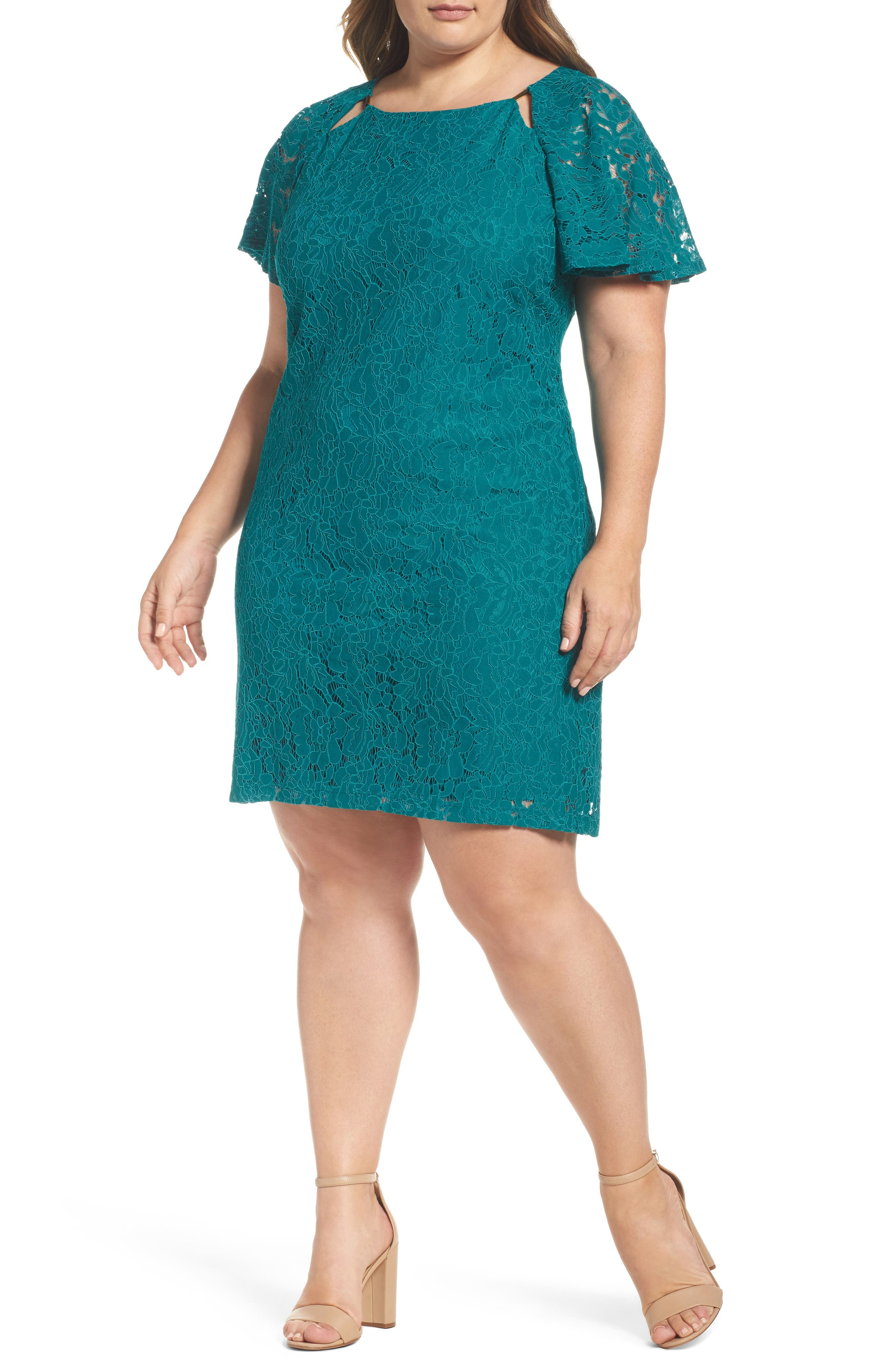 Flutter Sleeve Lace Sheath Dress,                             Main thumbnail 1, color,                             Peacock