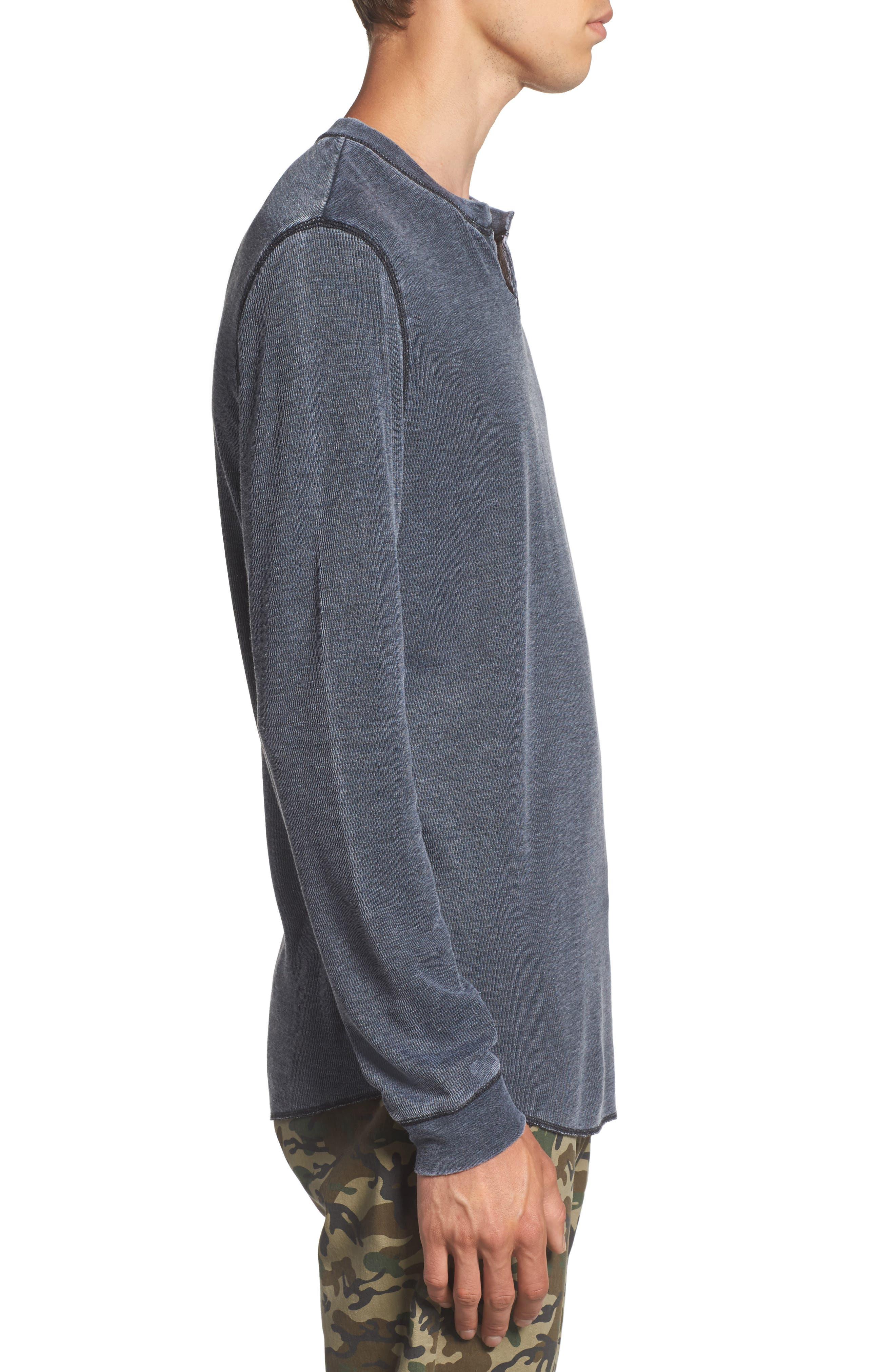 Notch Neck Thermal T-Shirt,                             Alternate thumbnail 3, color,                             Black/ White Burnout