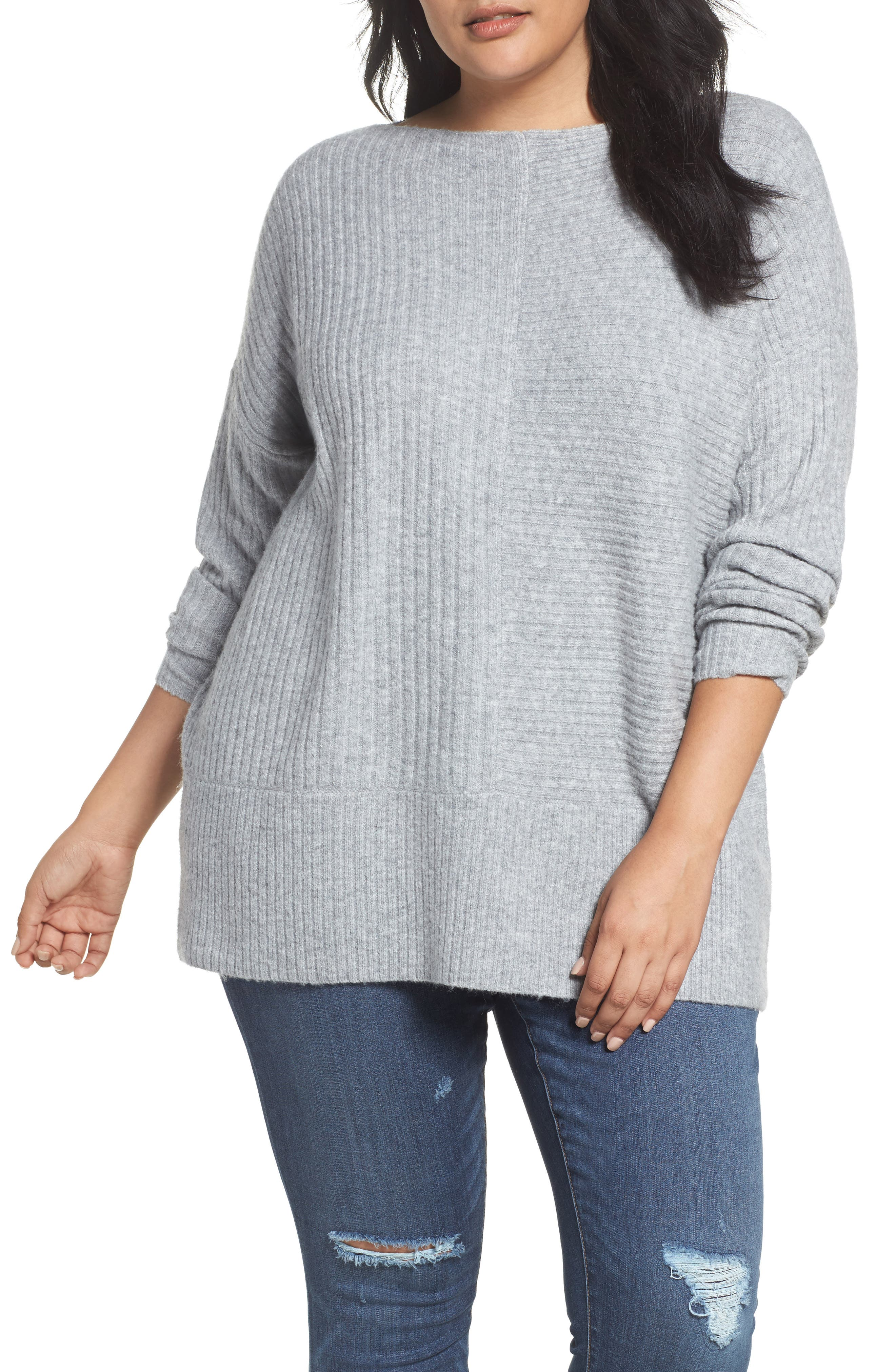 Caslon® Mixed Stitch Bateau Neck Sweater (Plus Size)